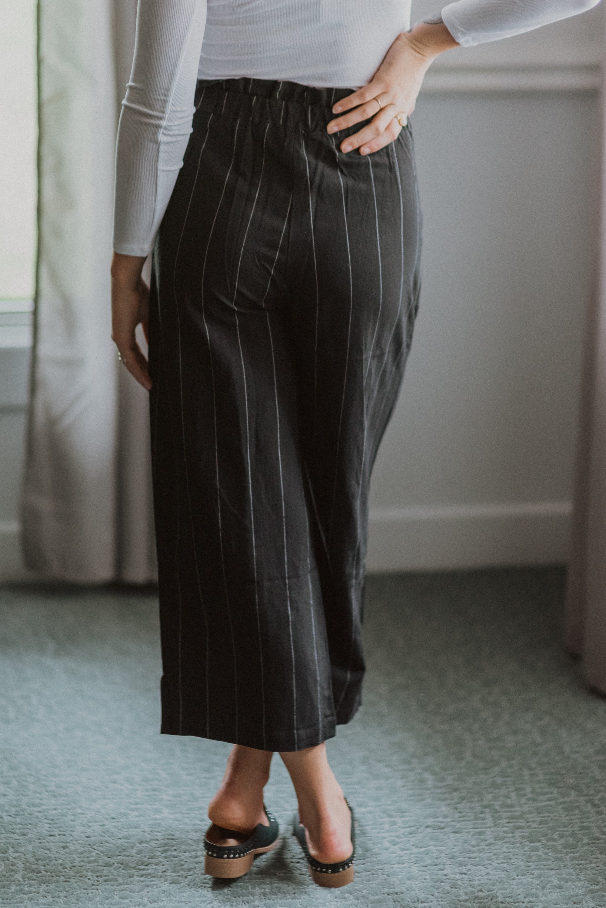 Tie It Up with a Bow Culotte Pin Striped Pants