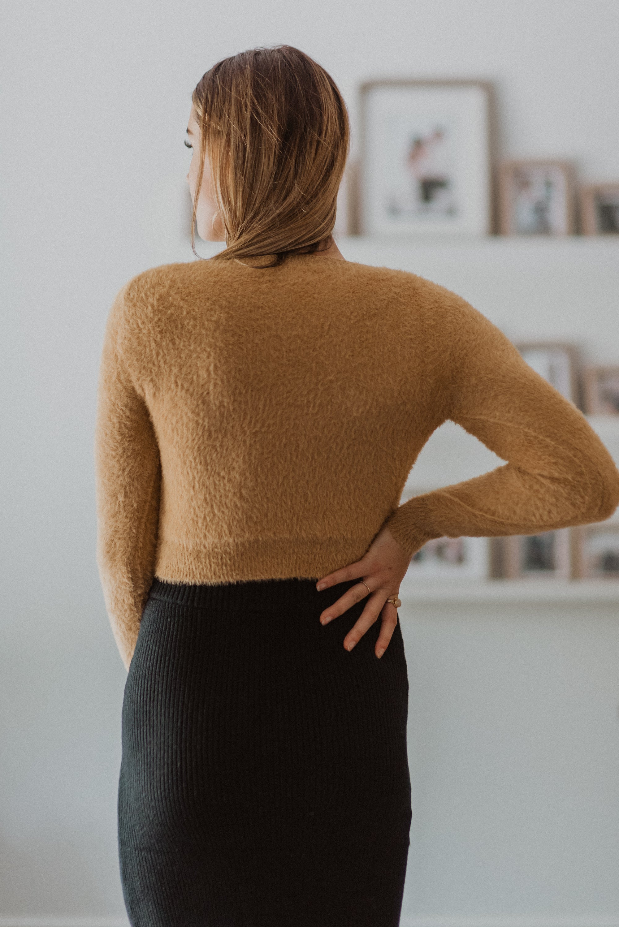 The Sweetest Fuzzy Twist Front Crop Sweater in Caramel
