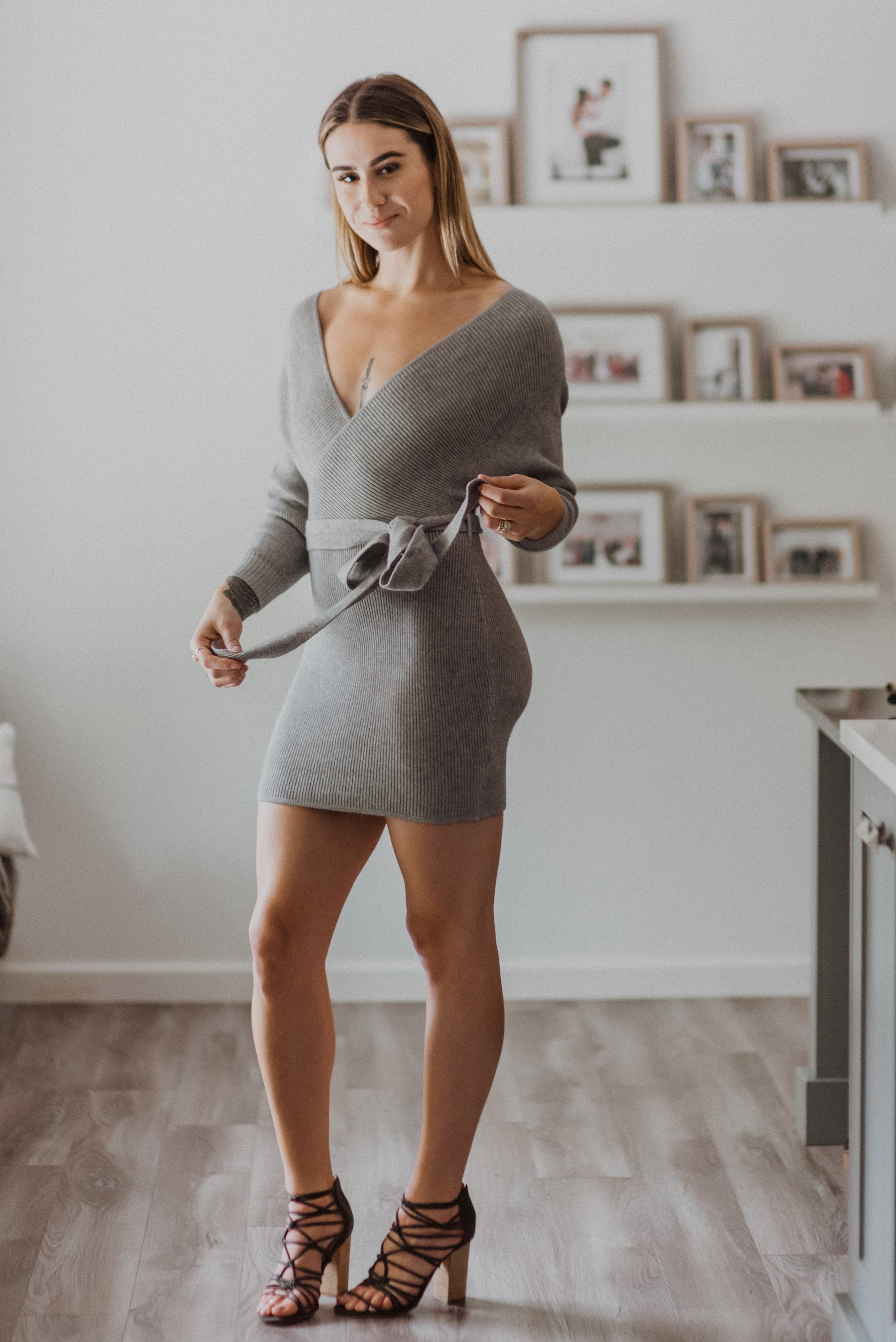 zSOLD OUTz Ribbed Off the Shoulder Wrap Sweater Dress