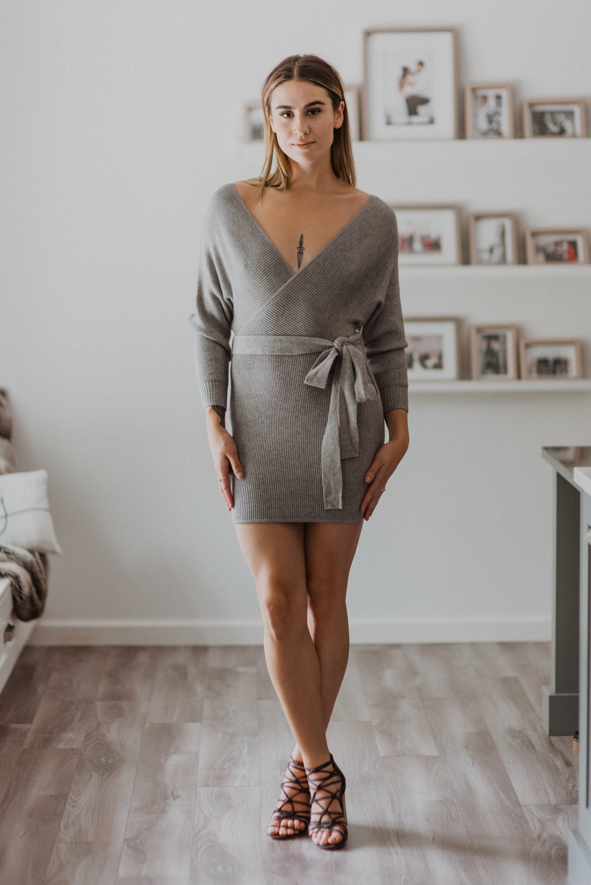 Ribbed Off the Shoulder Wrap Sweater Dress