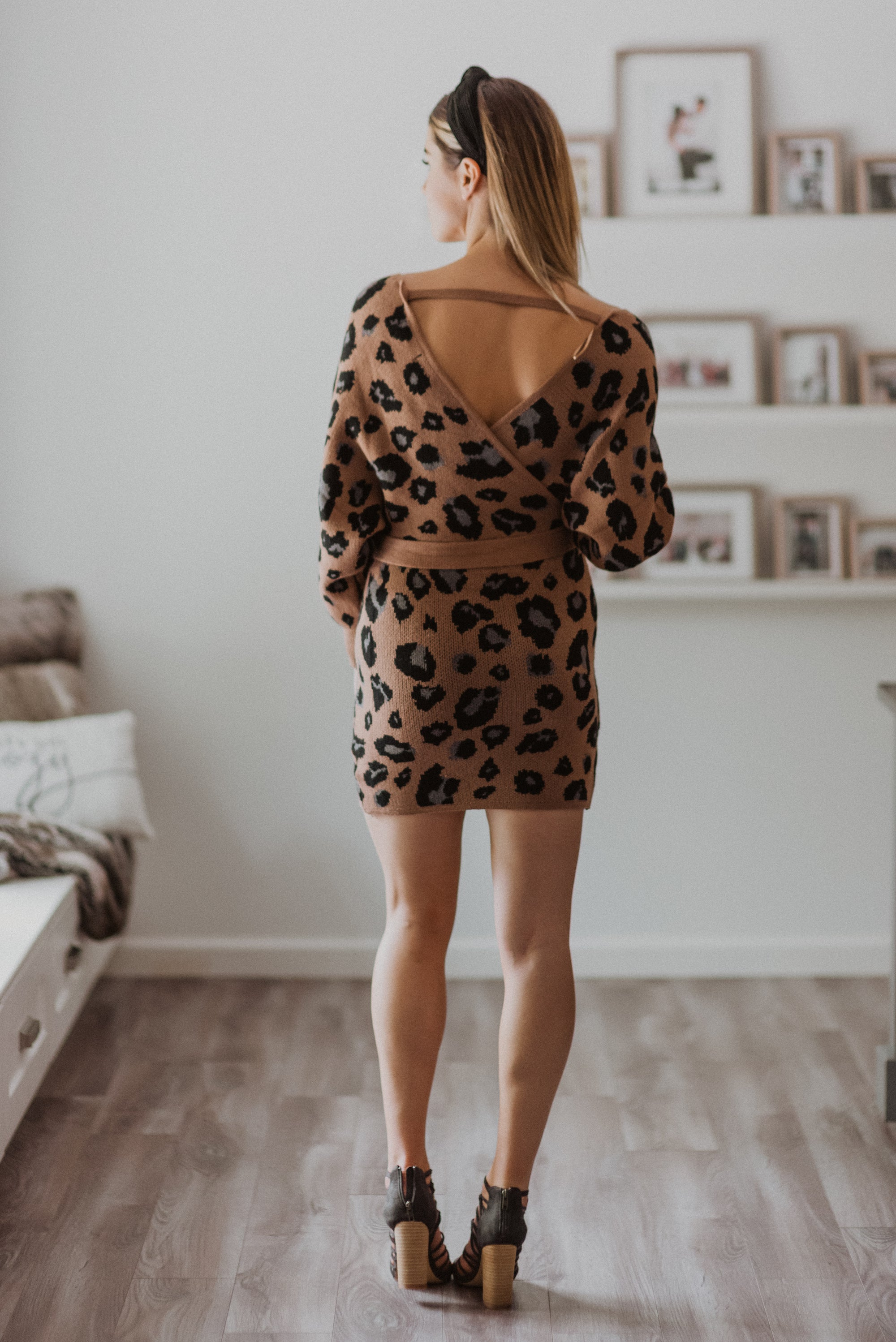 Roaring to Rise Faux Wrap Sweater Dress
