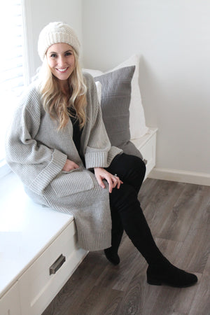 Phoebe Knit Oversize Open Cardigan in Heather Grey