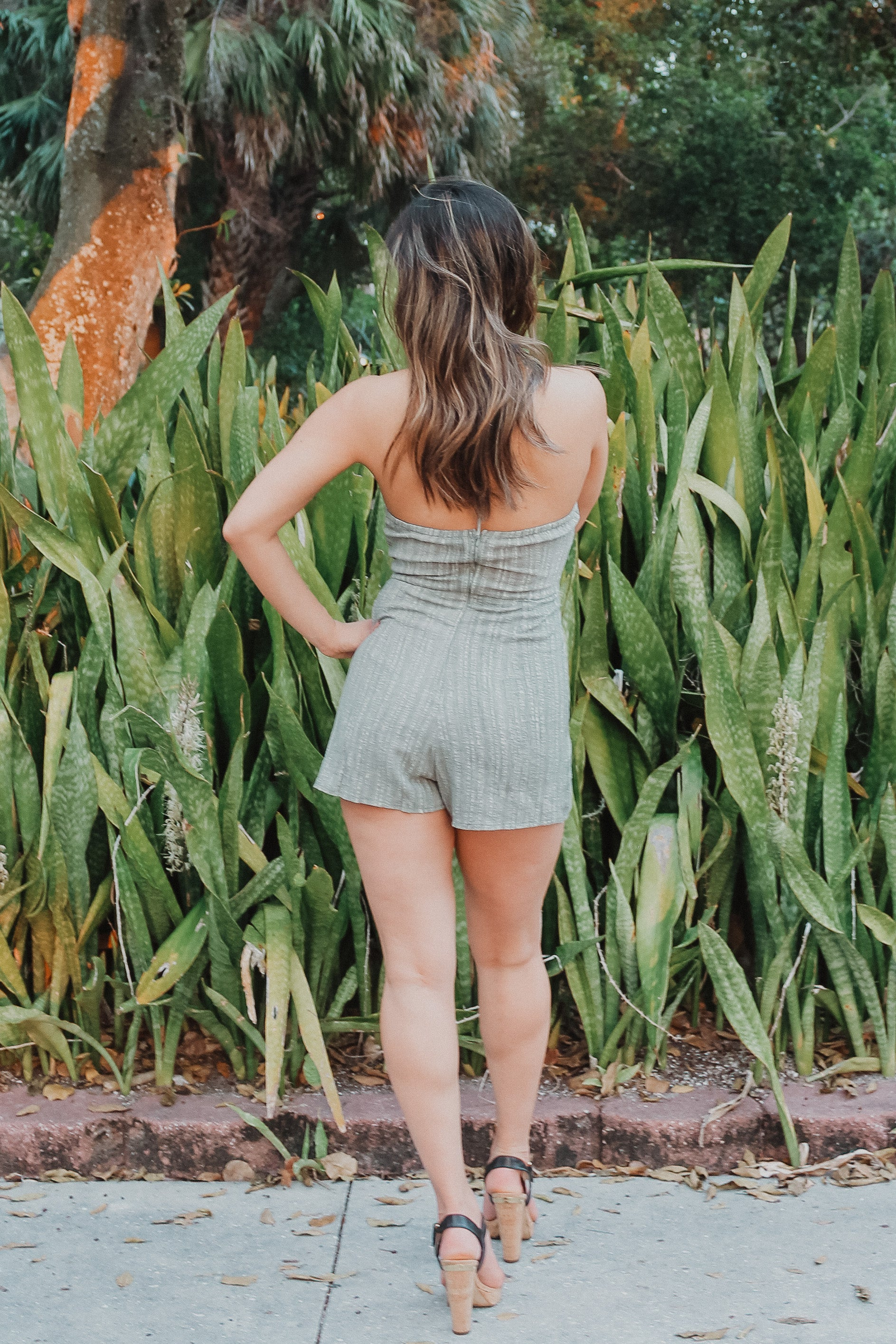 Plot Twist Romper in Olive / FINAL SALE