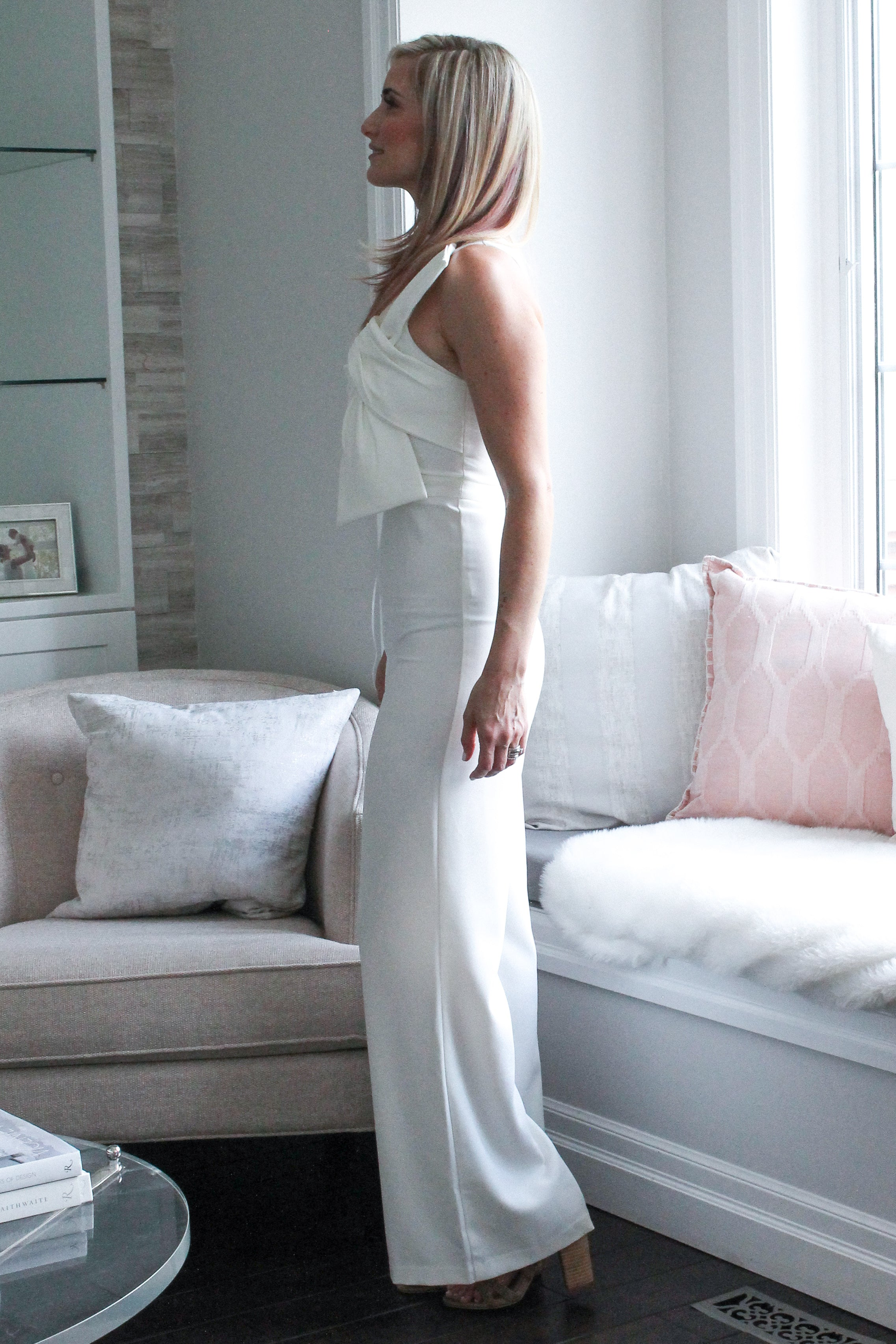 Diamond in the Sky One Shoulder Jumpsuit in Ivory