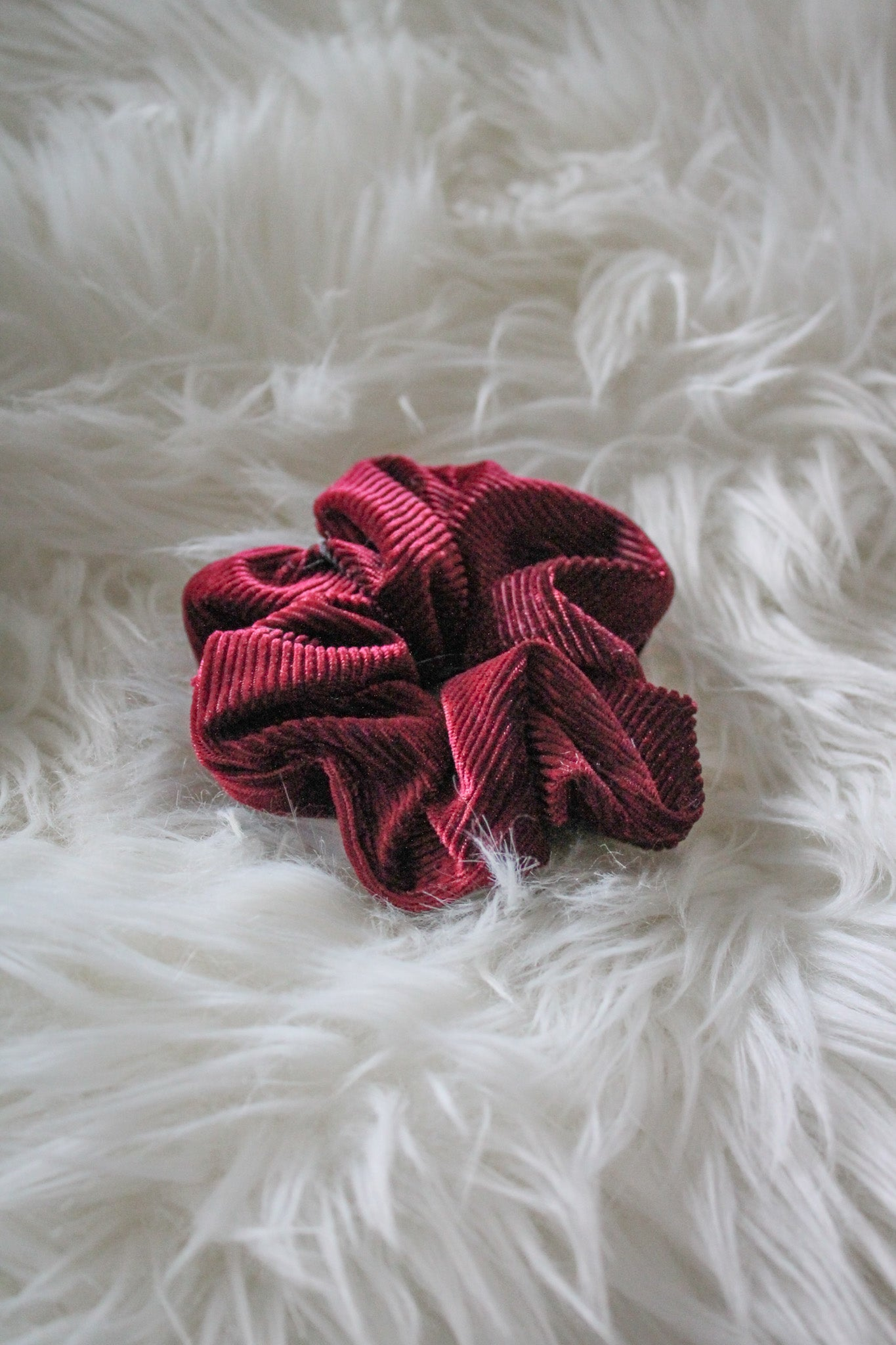 Up In the Hair Corduroy Scrunchie in Burgundy