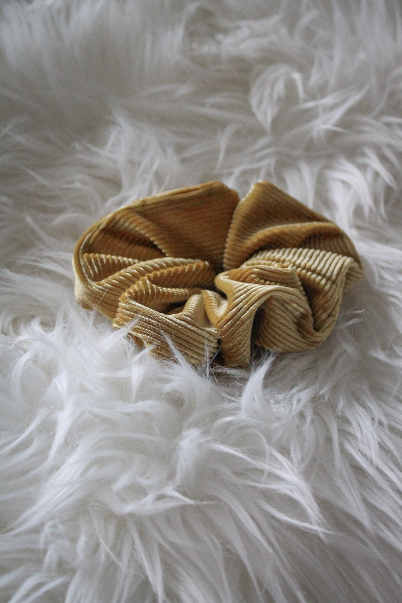 Up In the Hair Corduroy Scrunchie in Gold