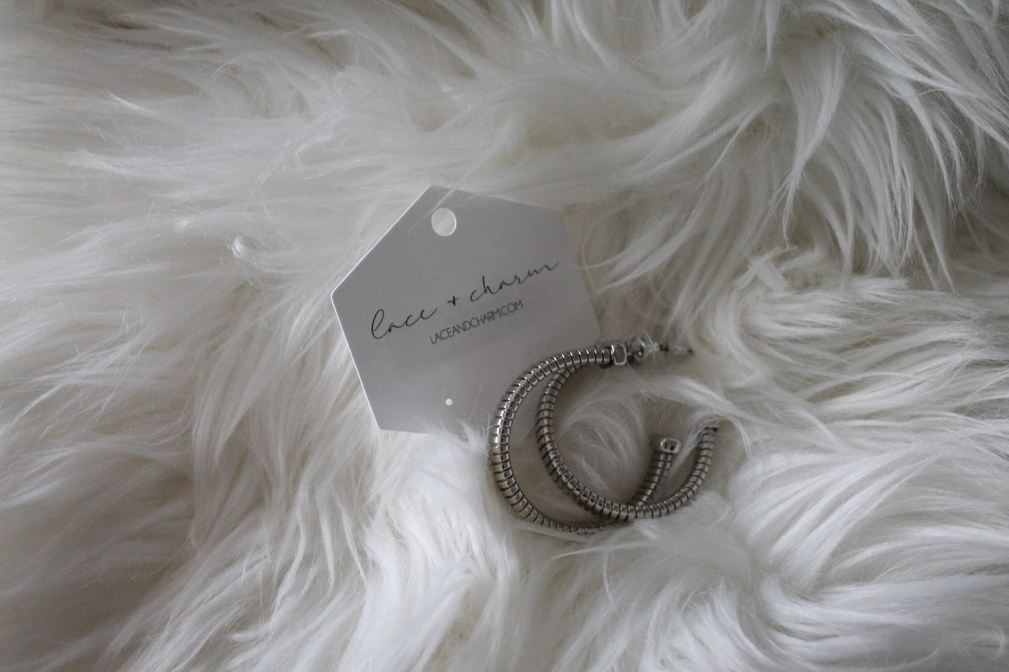 Bolt Away Hoop Earrings in Silver