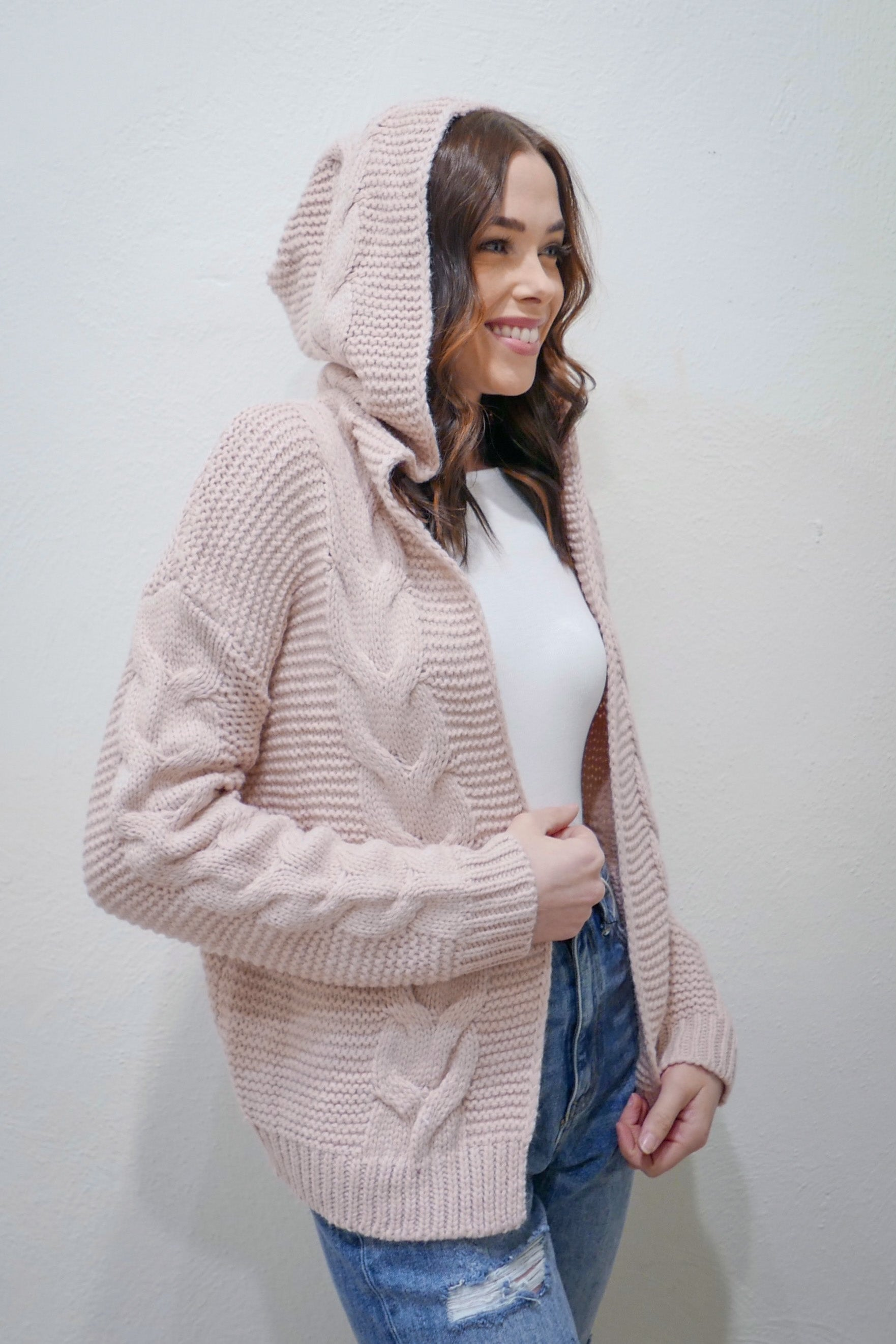 Heat Up My Heart Cable Knit Sweater in Dusty Pink