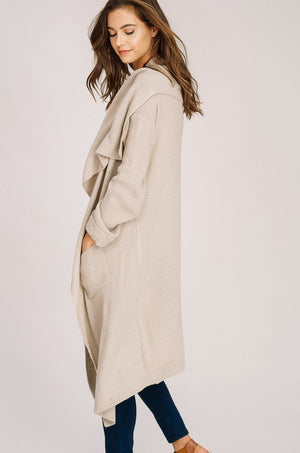 Riverside Knit Waterfall Collar Open Cardigan in Oatmeal