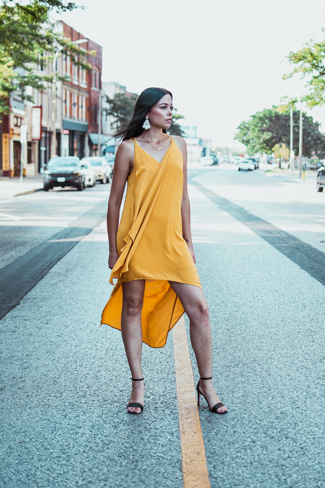 Panorama Asymmetric Crepe High-Low Dress in Mustard Yellow