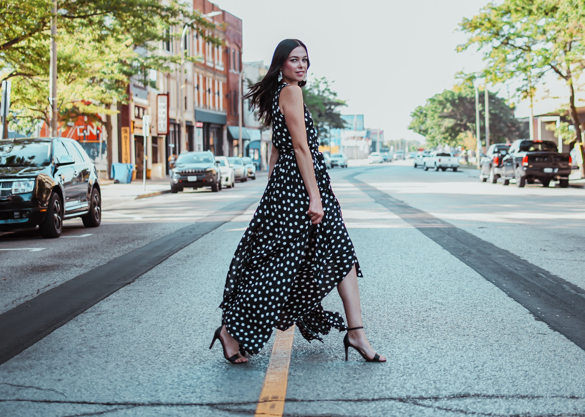 Leah Sleeveless Goddess Maxi Dress in Polka Dot