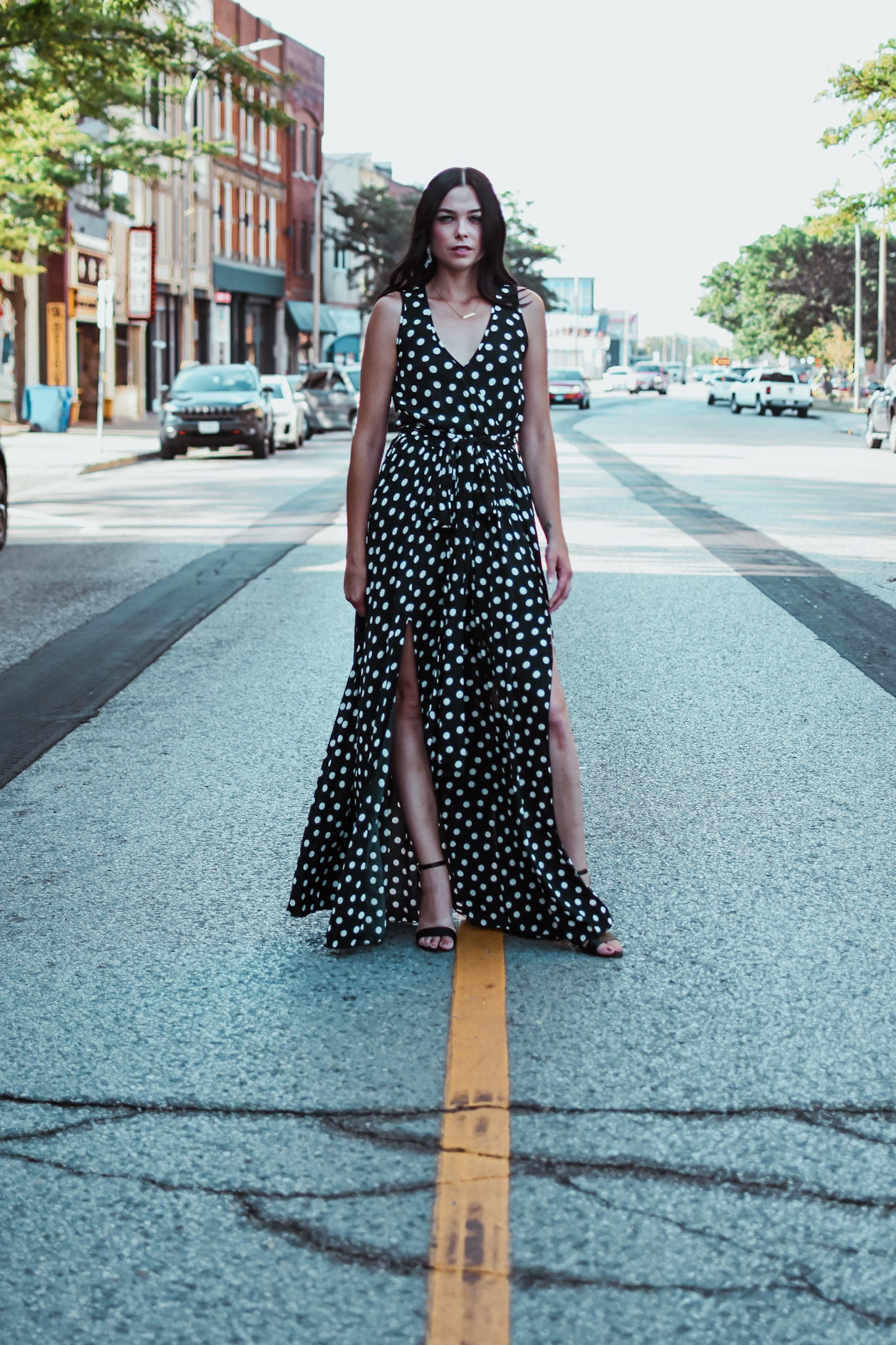 Leah Sleeveless Goddess Maxi Dress in Polka Dot / FINAL SALE