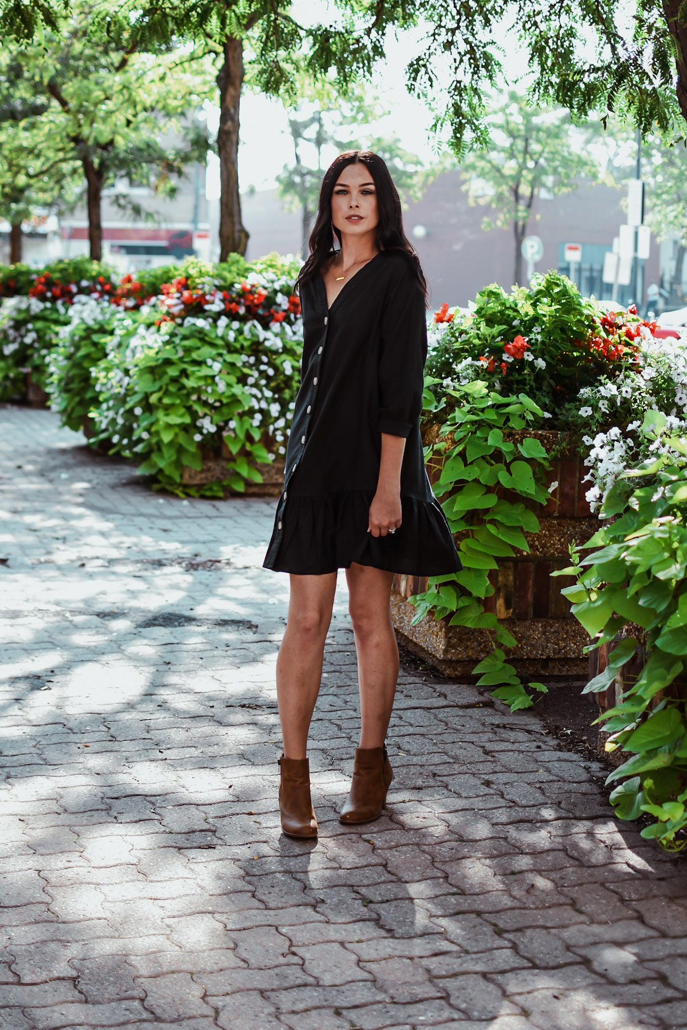 Button Up Ruffle Dress in Black / FINAL SALE