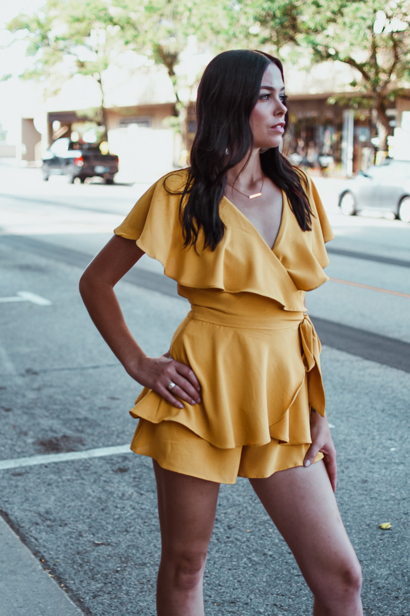 No Mistake Romper Dress in Mustard Yellow