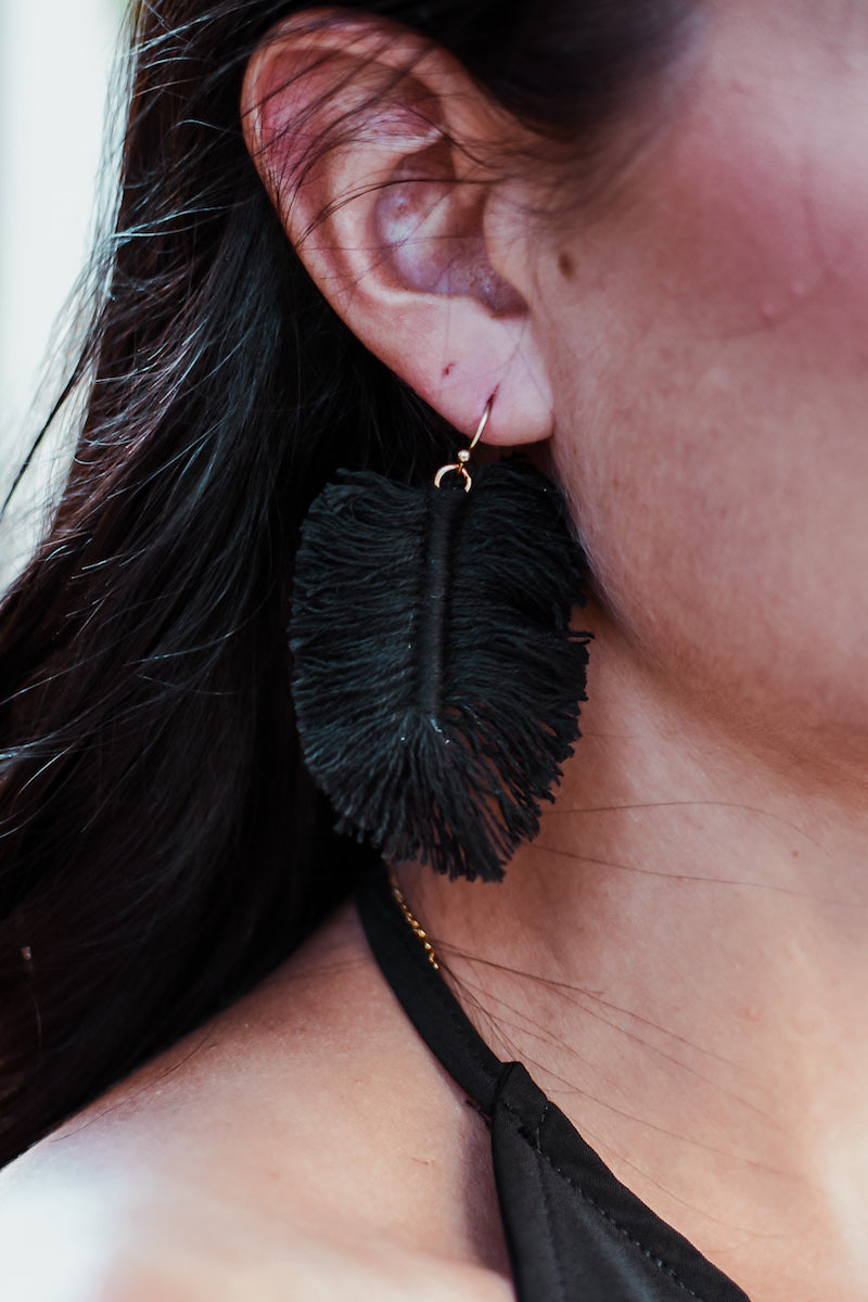 Loose Leaf Threaded Fan Fringe Earrings in Black