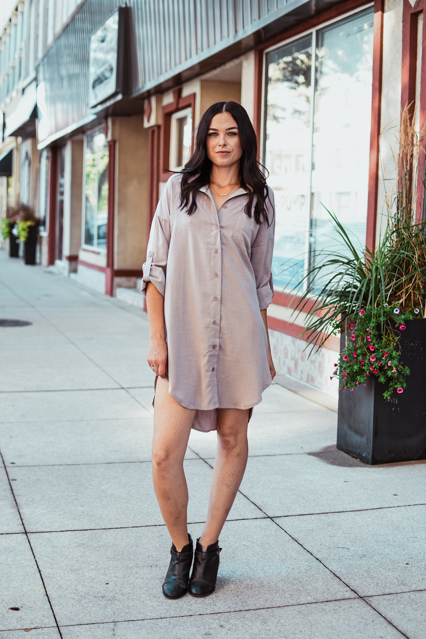 Work Hard Play Hard Button Down Tunic Shirt in Mauve