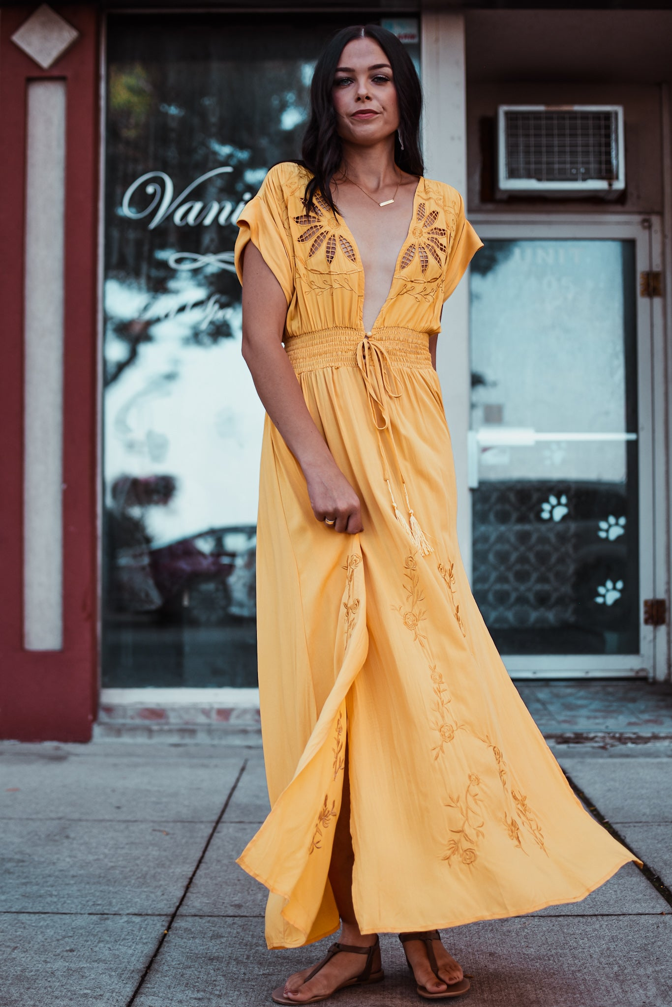 Hot September Embroidered Maxi Dress in Mustard Yellow