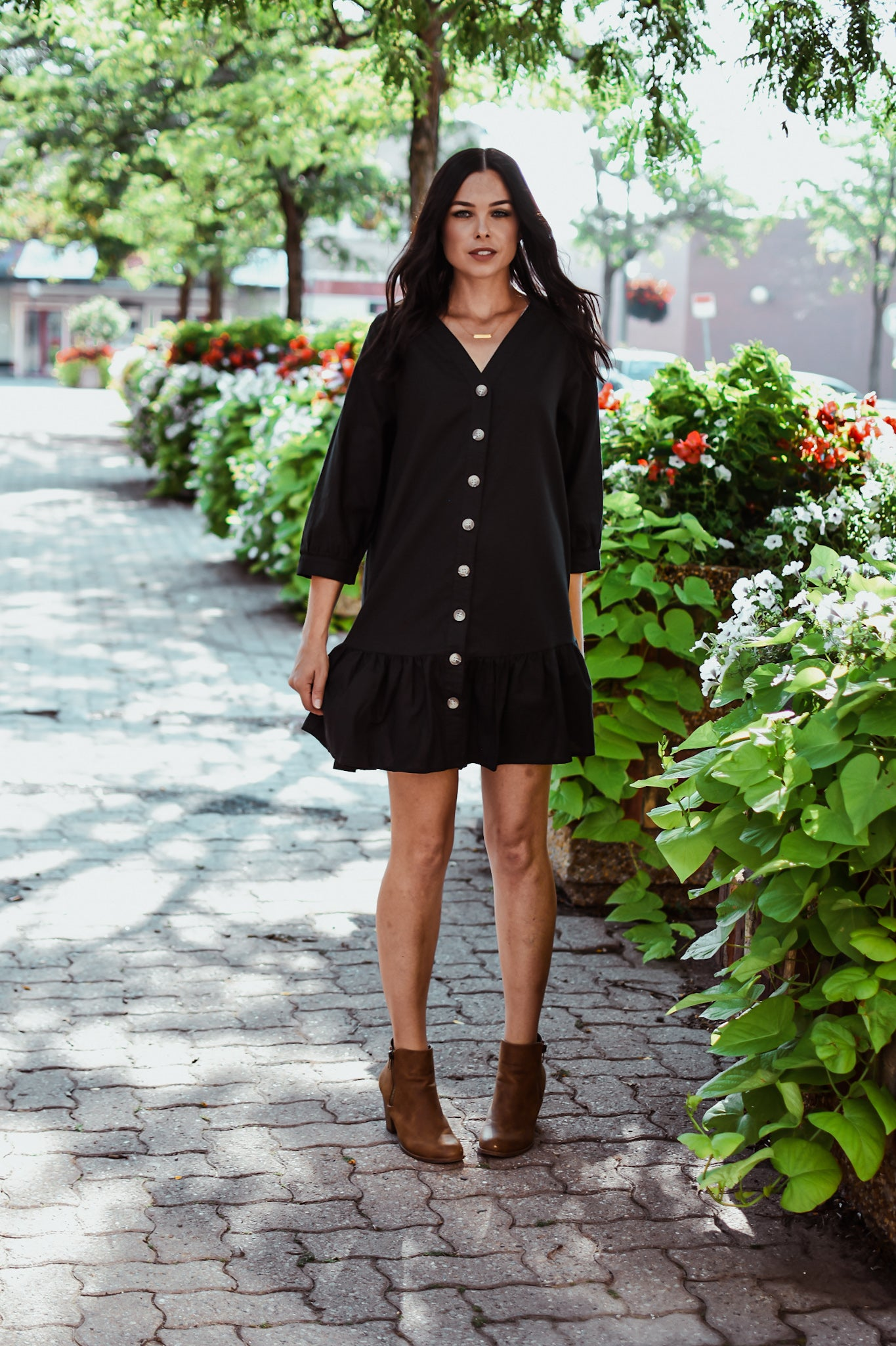 Button Up Ruffle Dress in Black