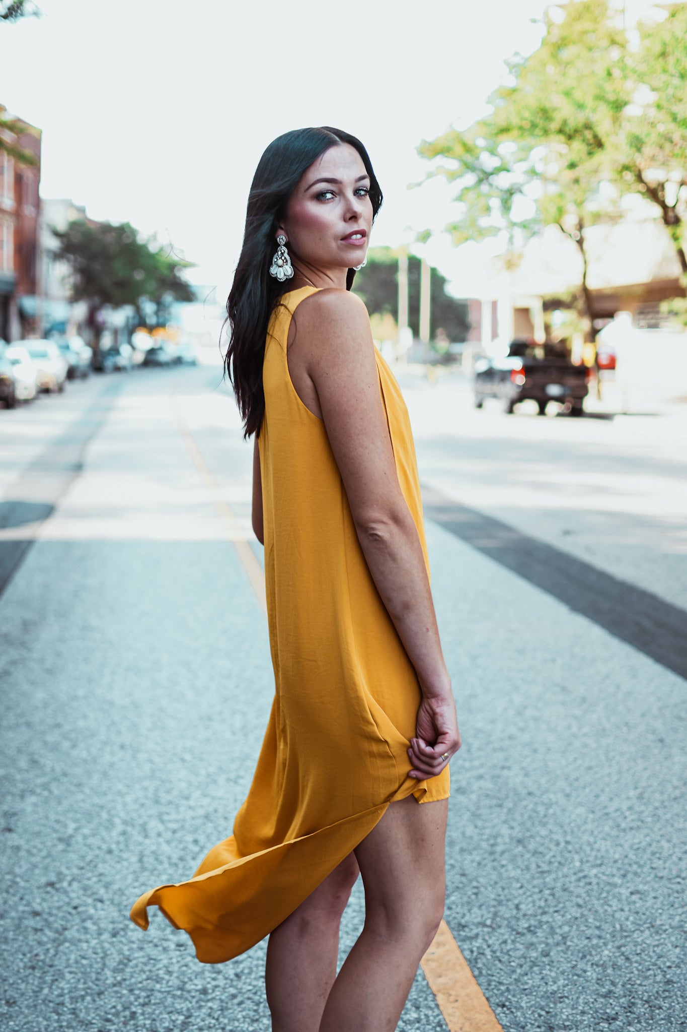 Panorama Asymmetric Crepe High-Low Dress in Mustard Yellow / FINAL SALE