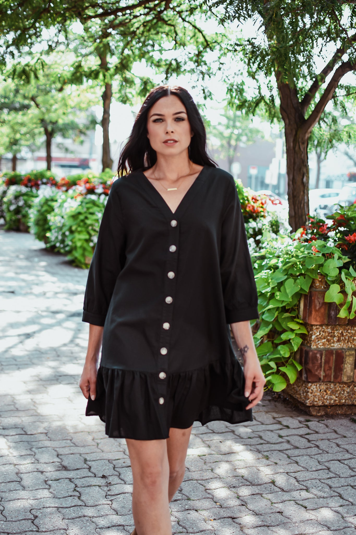 zSOLD OUTz Button Up Ruffle Dress in Black