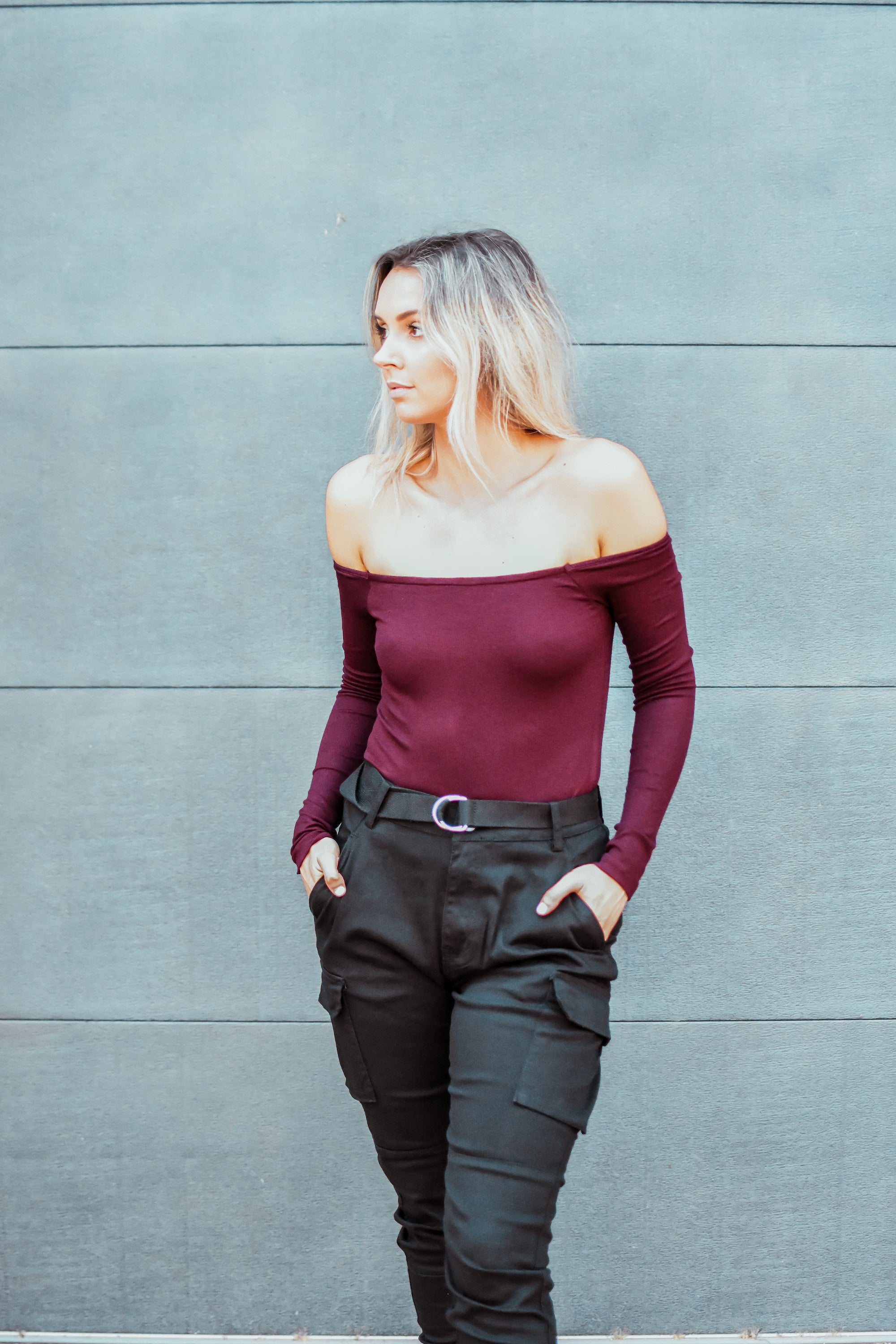 Making Moves Off the Shoulder Bodysuit in Burgundy