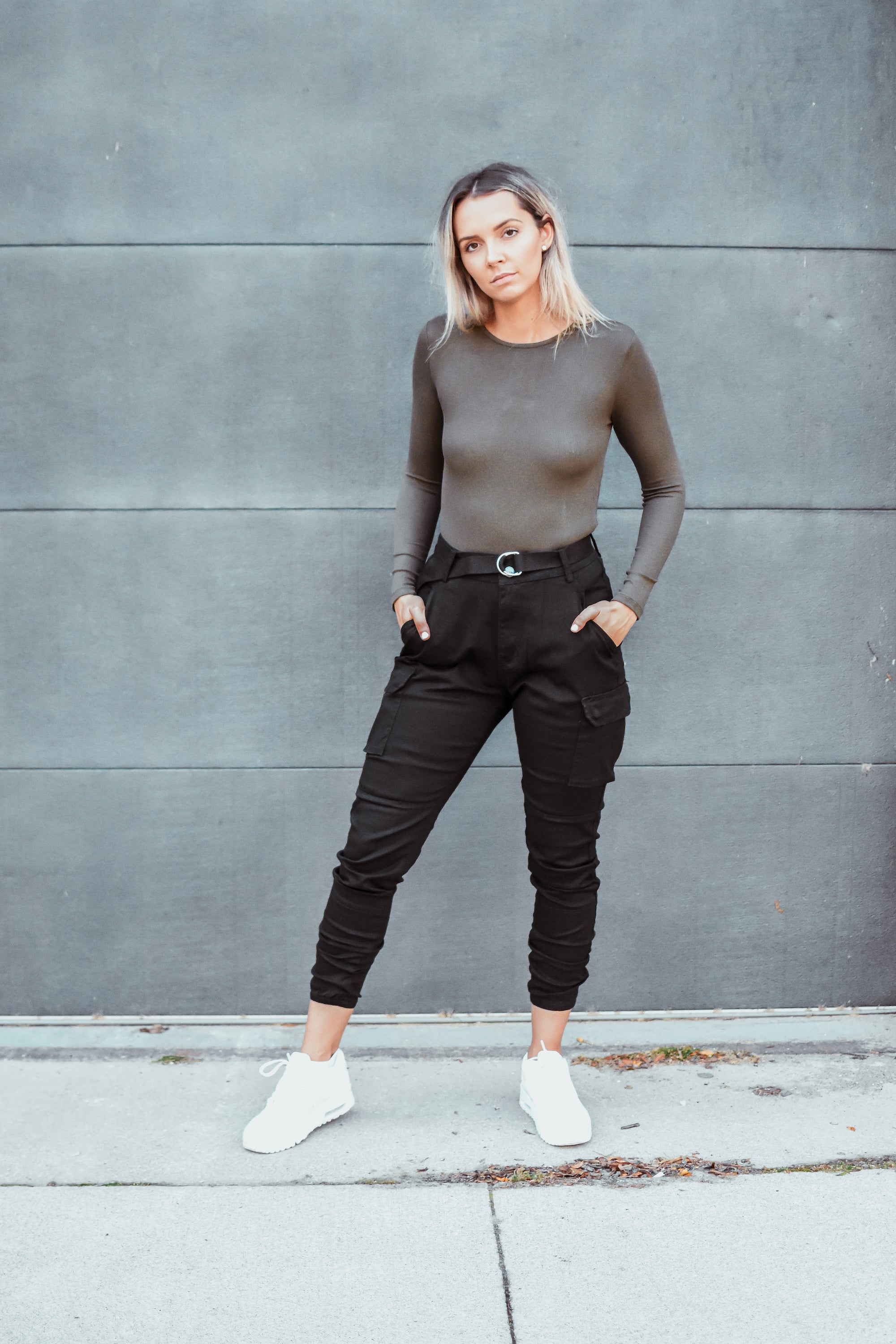 Nathan High Waist Cargo Belted Jogger Pant in Black