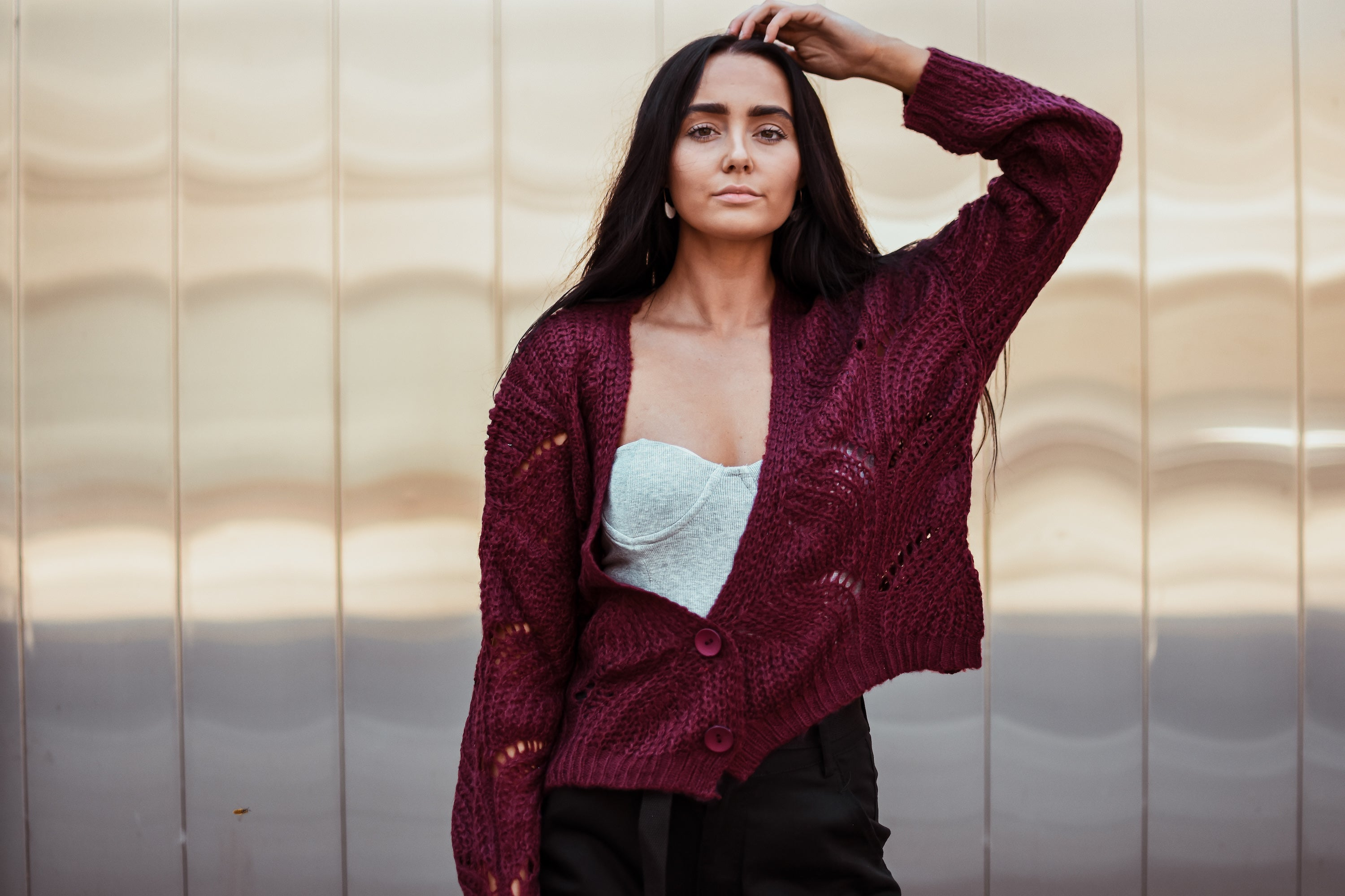 Fan of Yours Open-Knit Cardigan in Burgundy
