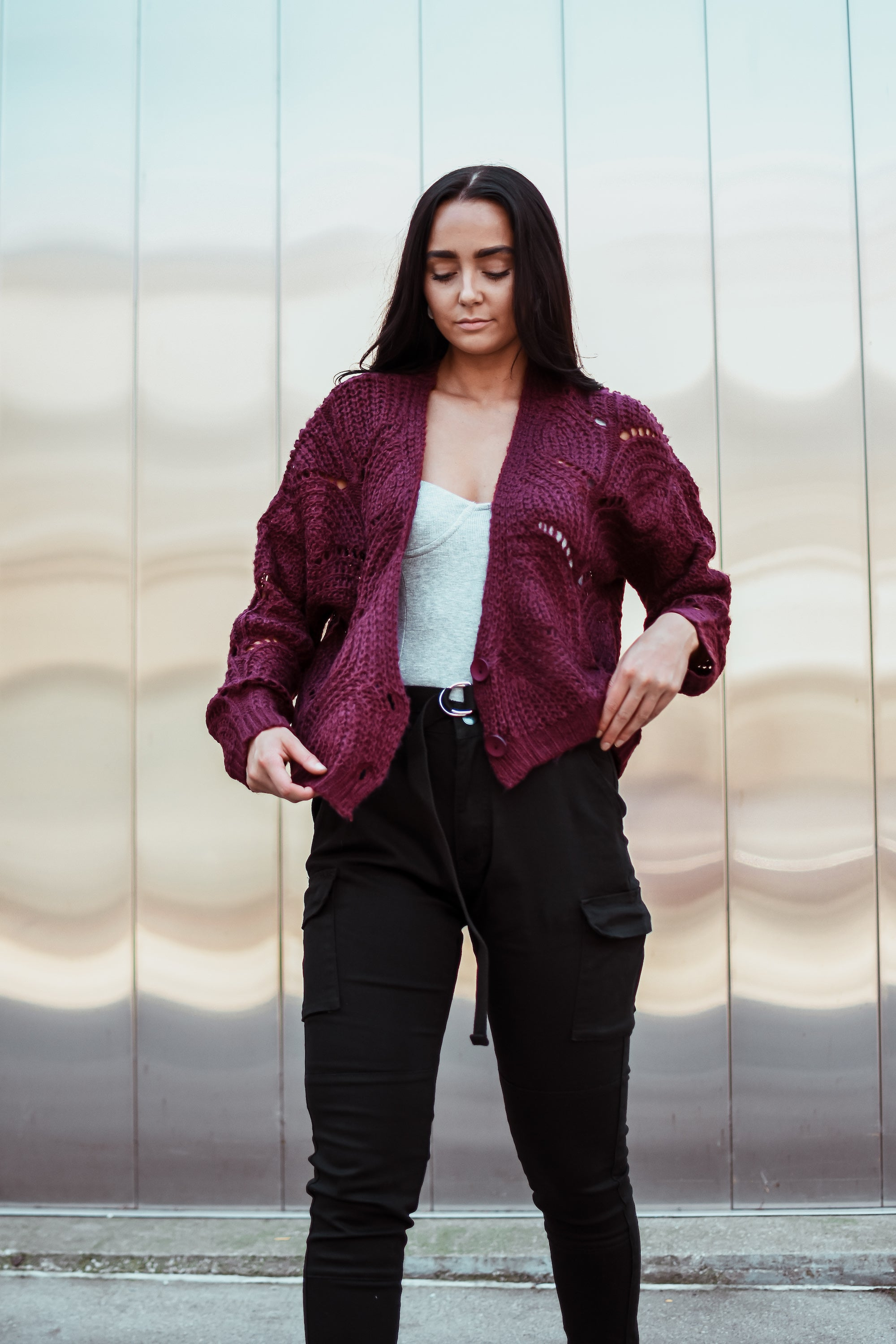 Fan of Yours Open-Knit Cardigan in Burgundy / FINAL SALE