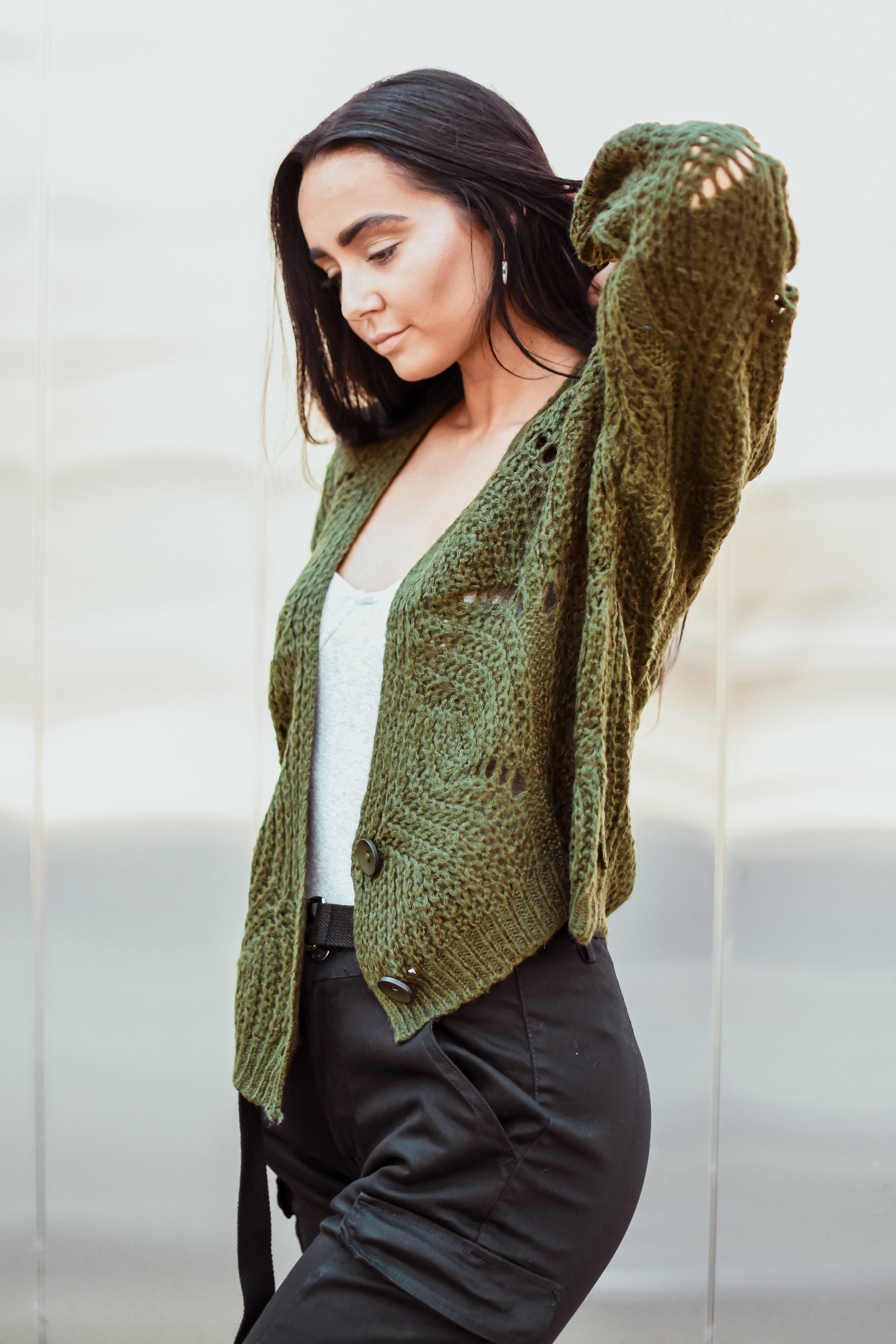 Fan of Yours Open-Knit Cardigan in Olive