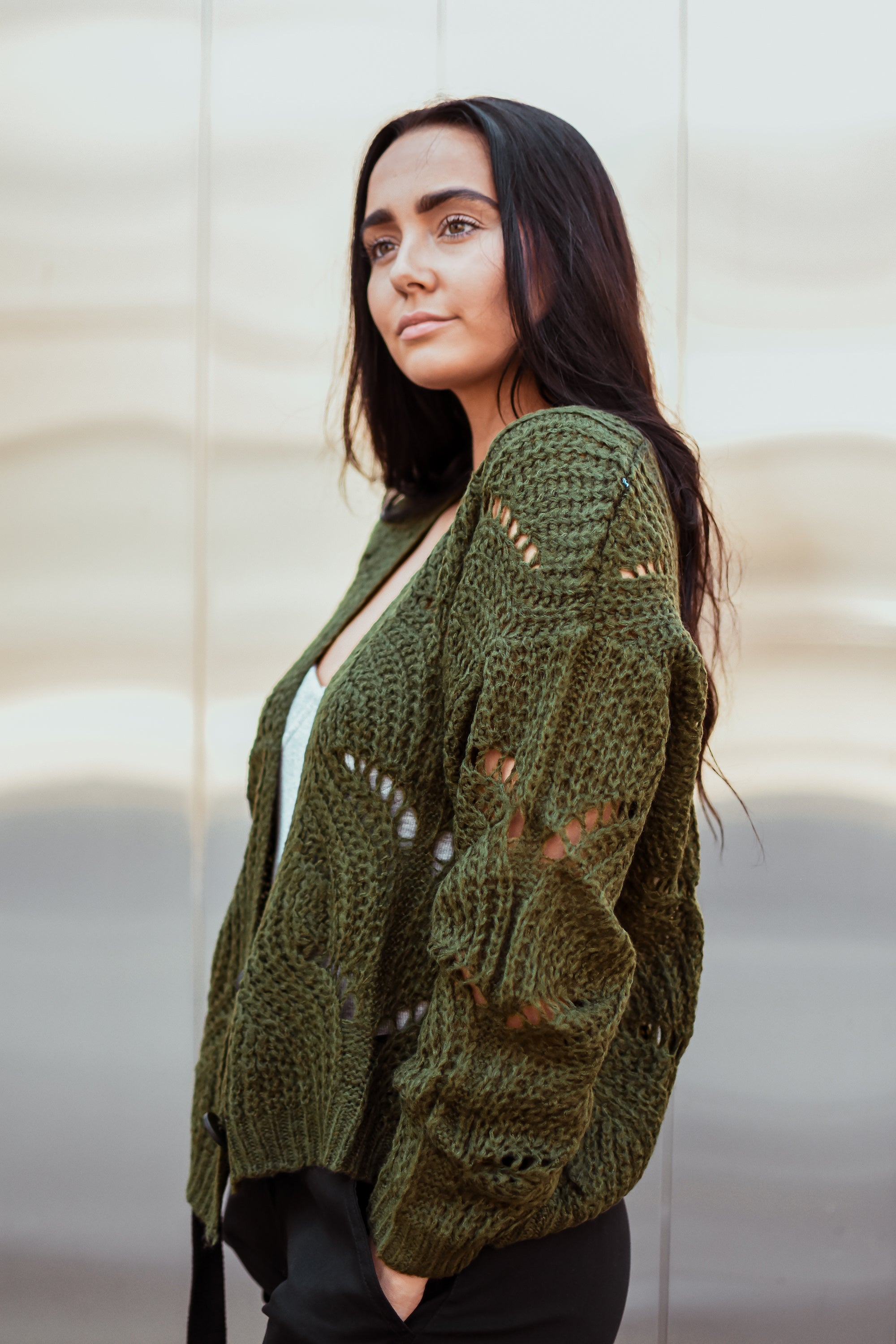 zSOLD OUTz Fan of Yours Open-Knit Cardigan in Olive
