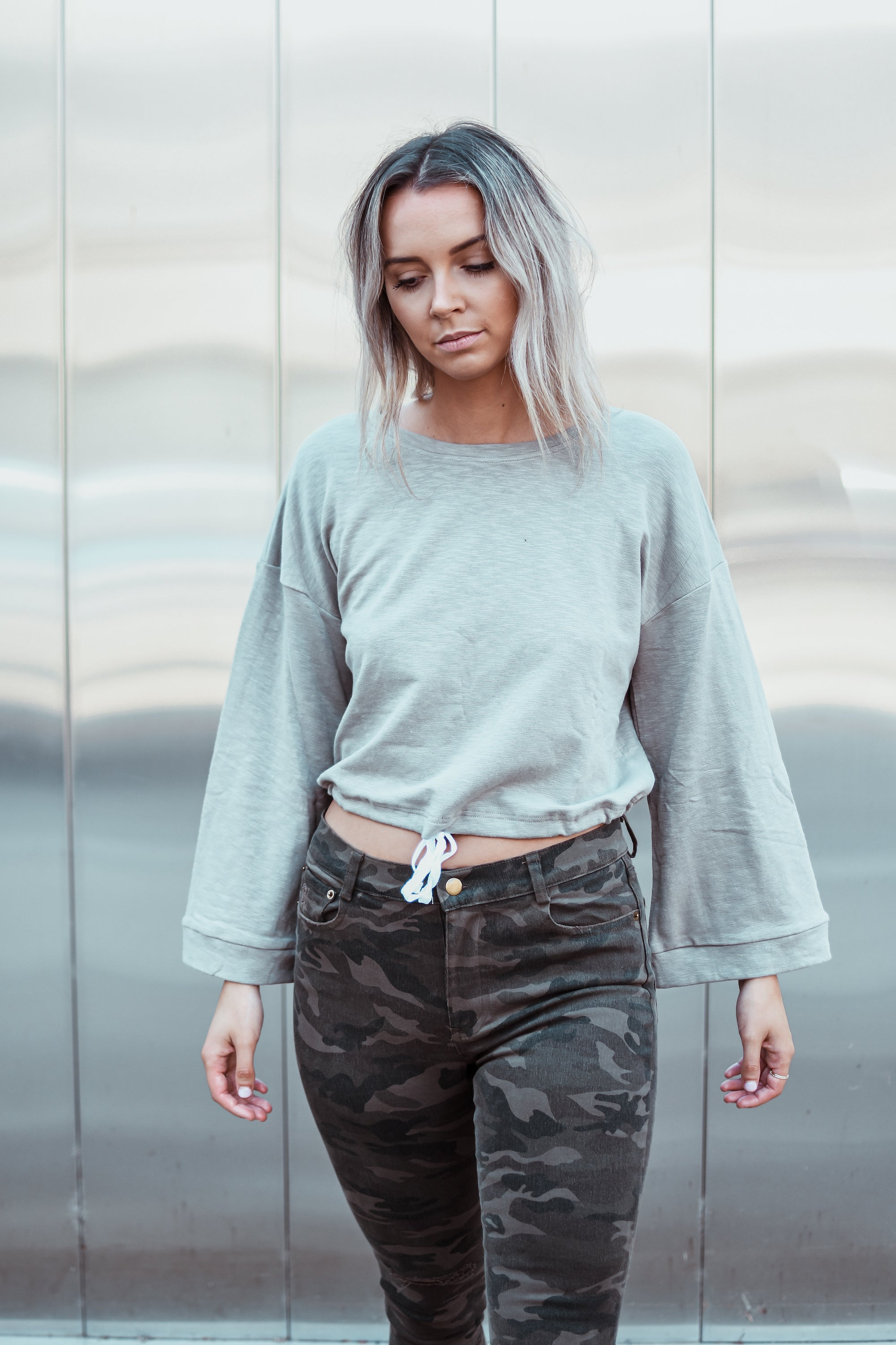 Back for More Fluted Sleeves Sweatshirt in Khaki / FINAL SALE