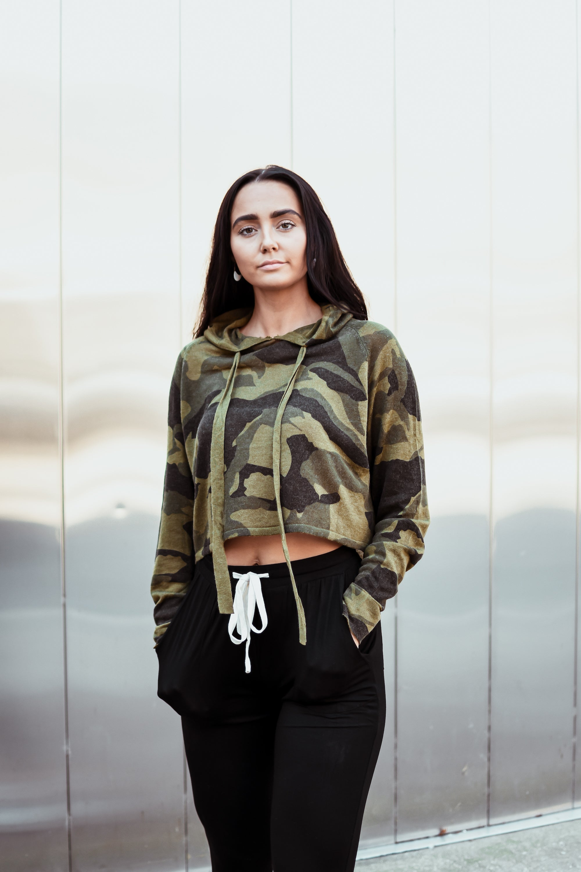 SOLD OUT / Under the Radar Knit Camo Crop Hoodie