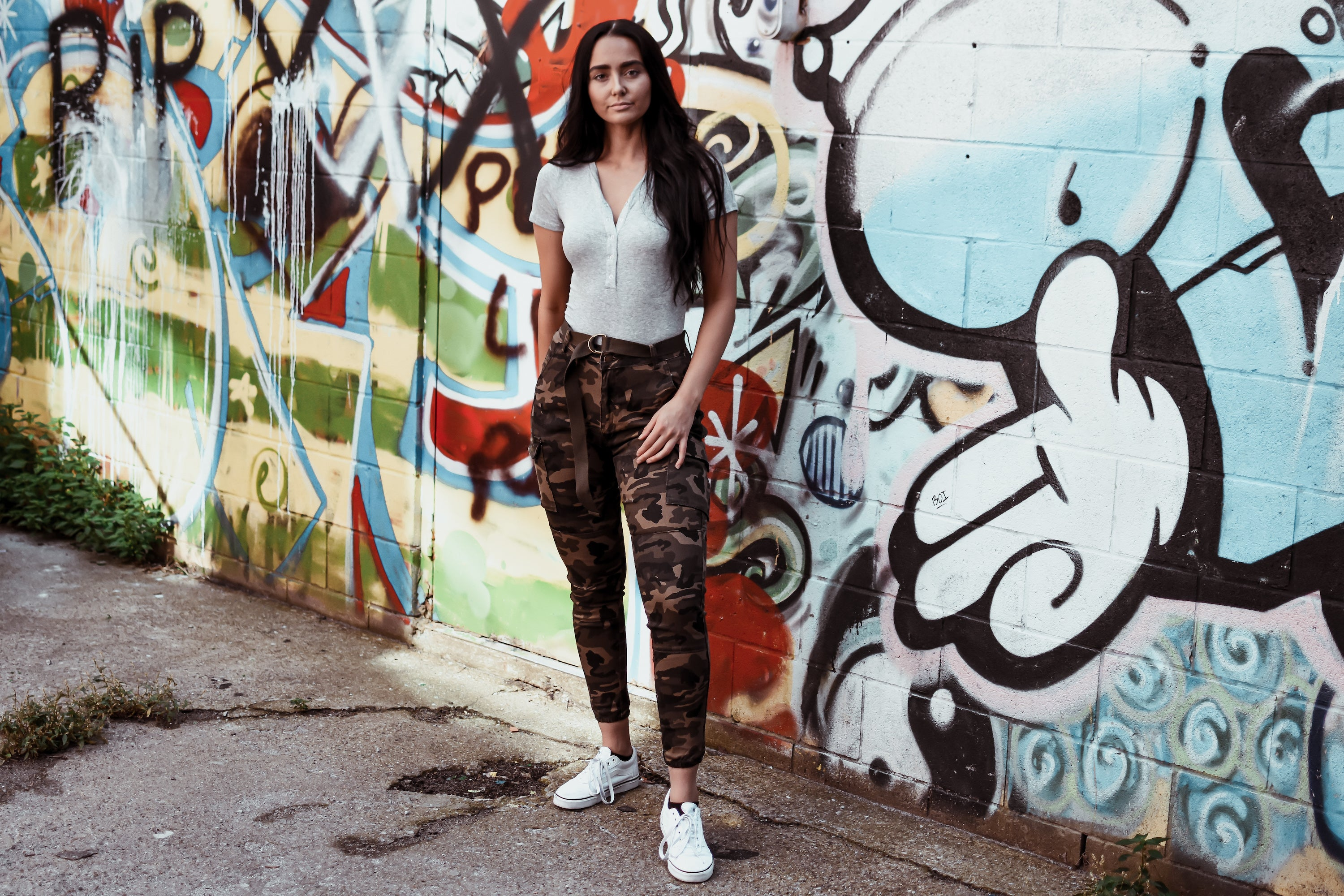 Nathan High Waist Cargo Belted Jogger Pant in Camo