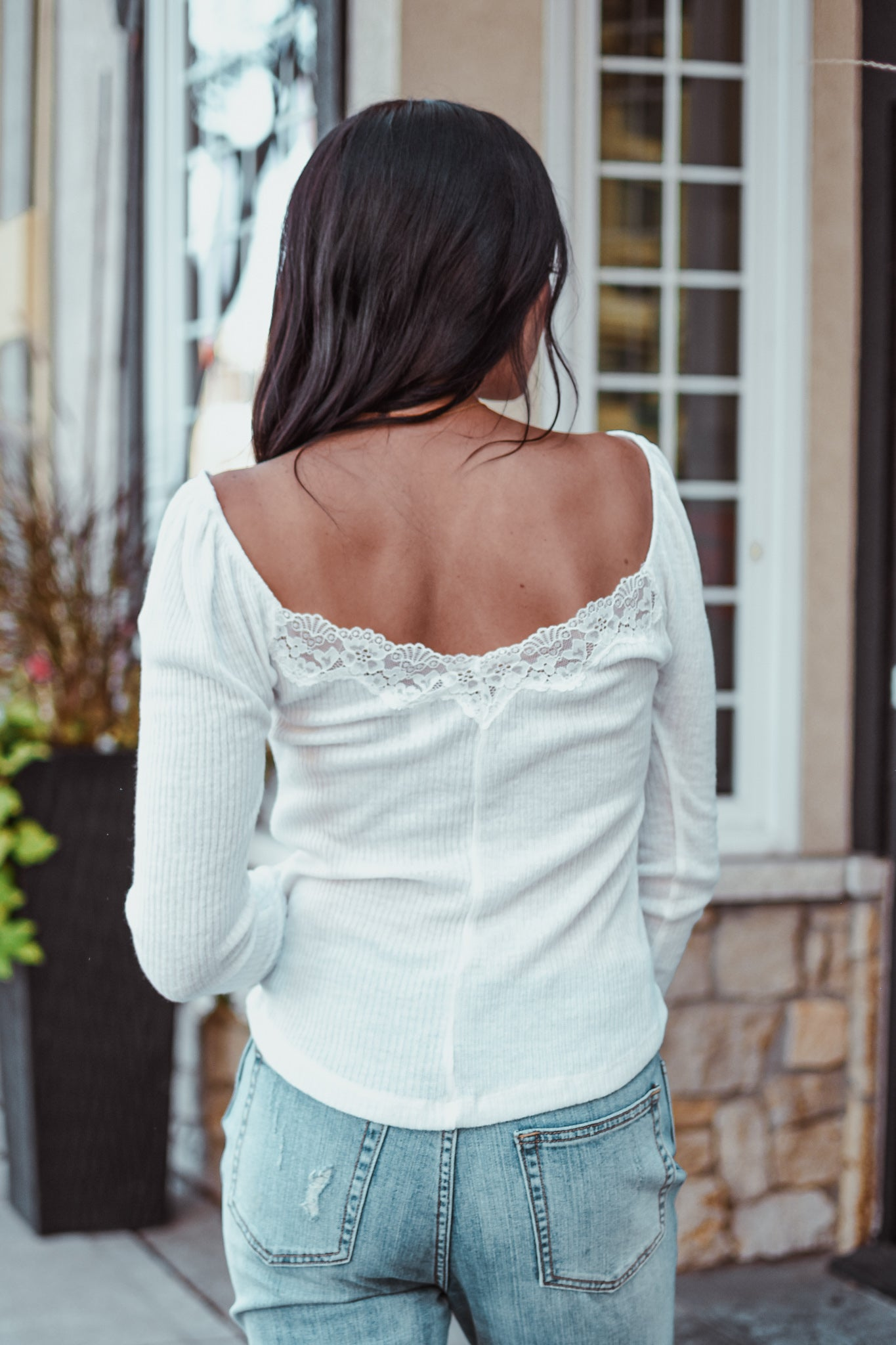 Pumpkin Spice Lace-Trim Ribbed Knit Top in Ivory / FINAL SALE