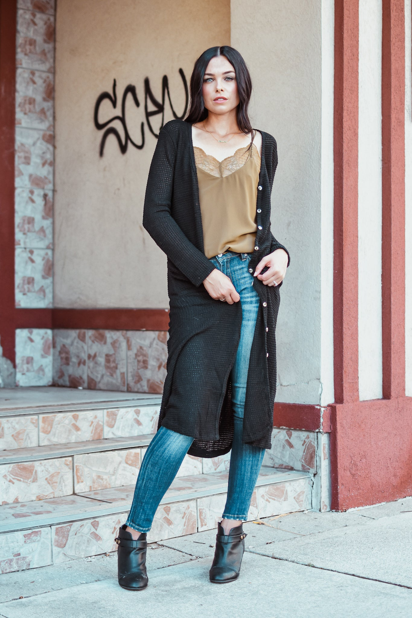Take Me To The Fair Waffle Knit Cardigan in Black