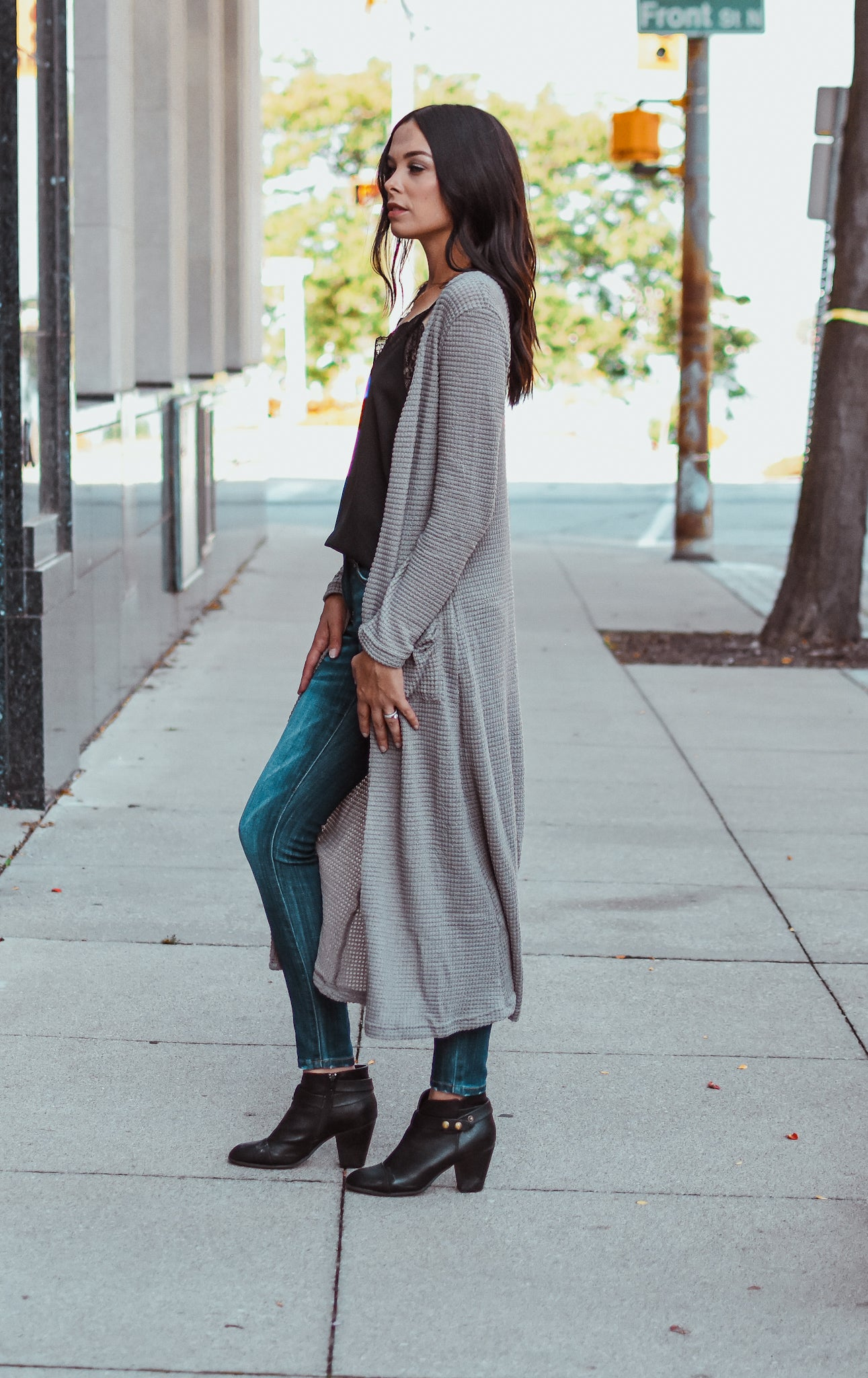 Take Me To The Fair Waffle Knit Cardigan in Grey