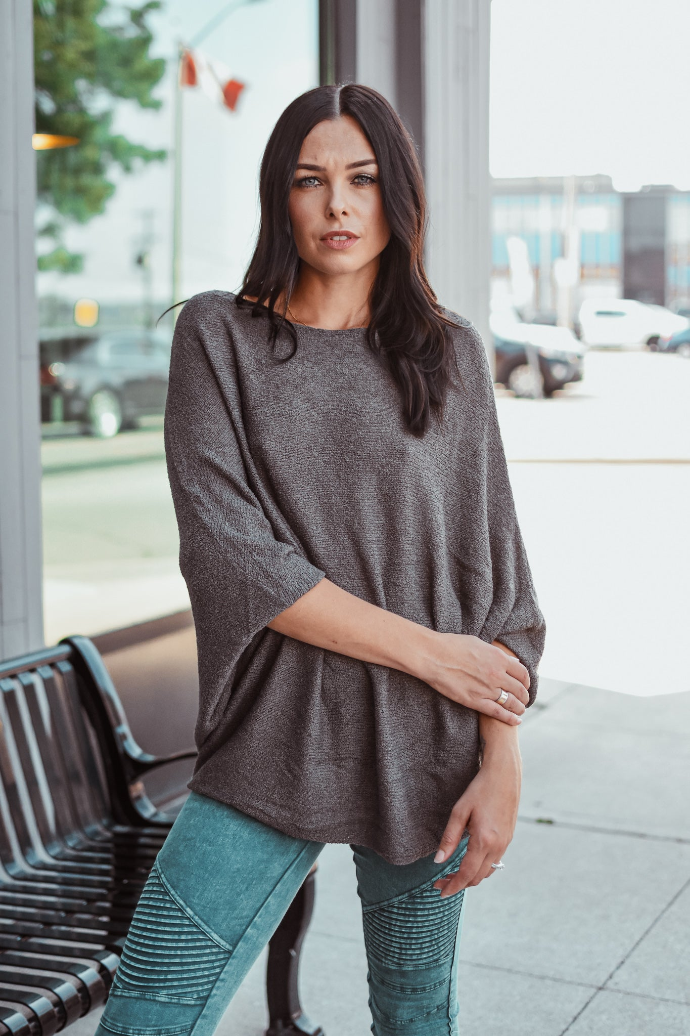 Grateful For You Dolman Sleeve Knit Top in Charcoal