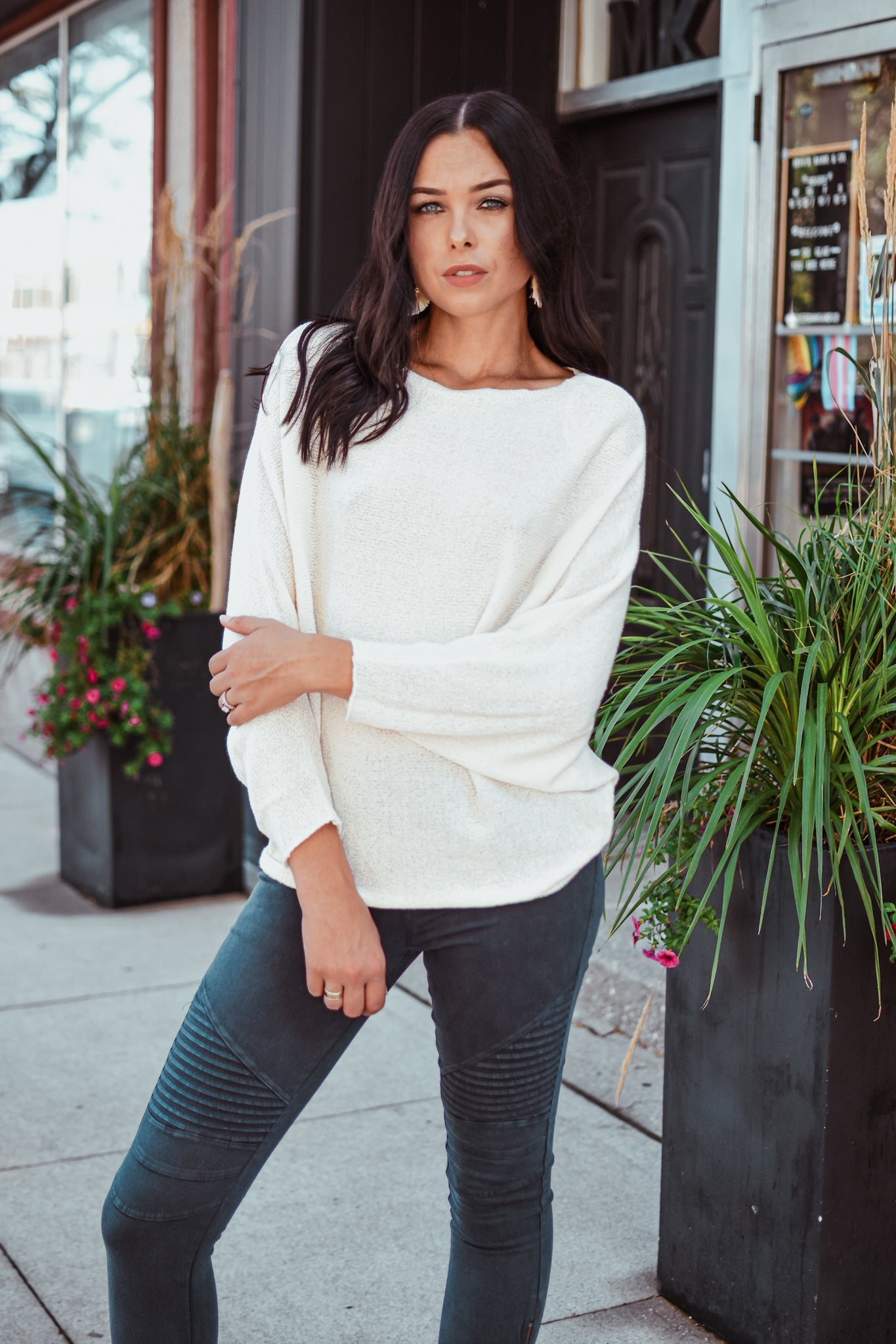Grateful For You Dolman Sleeve Knit Top in Natural