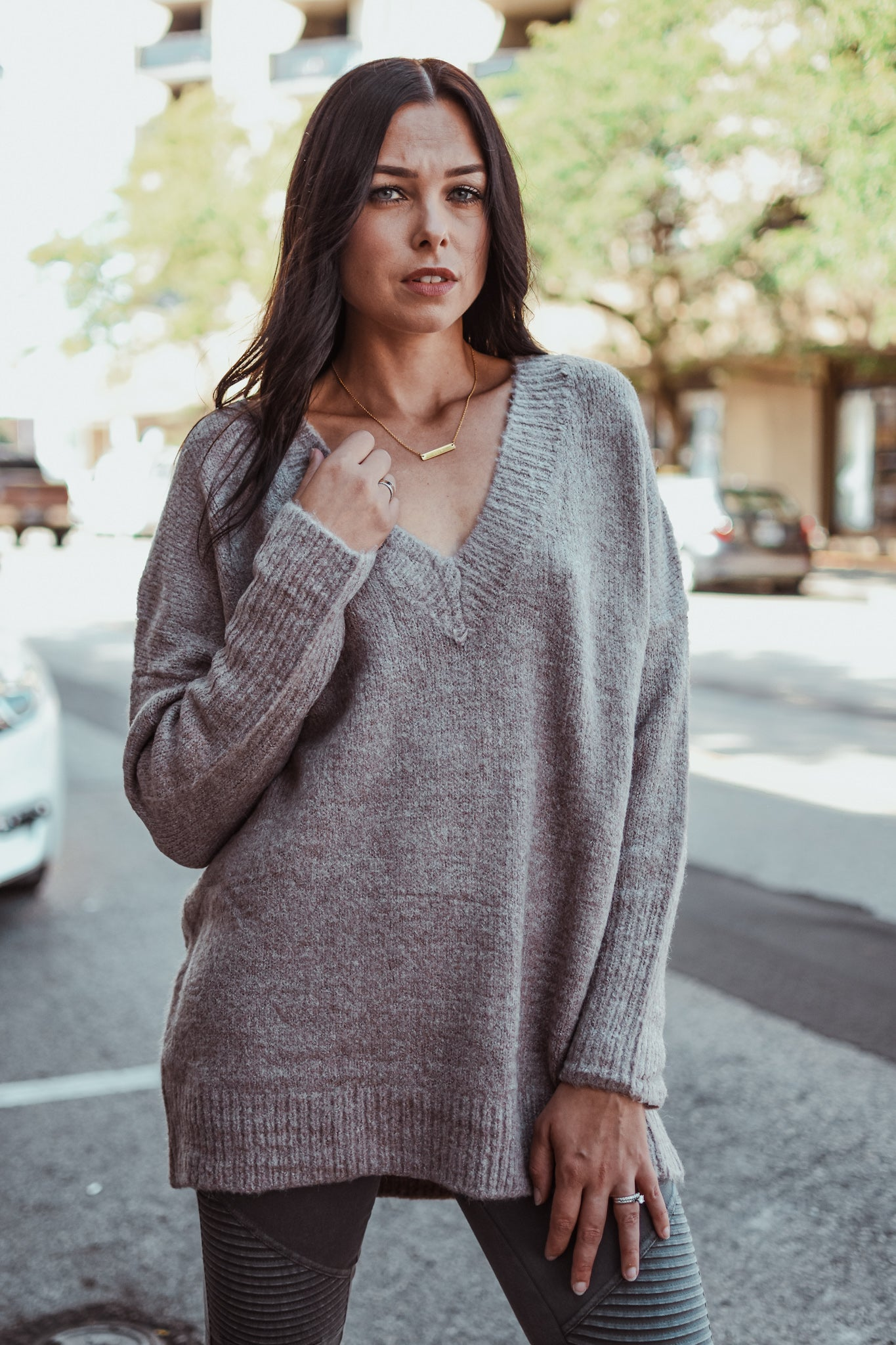 Apple Picking Dolman Sleeve V-Neck Sweater in Mauve / FINAL SALE