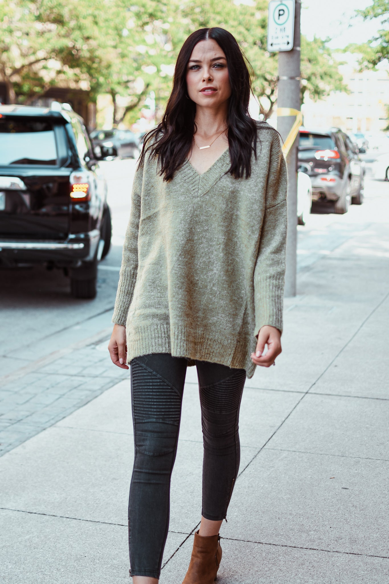 Apple Picking Dolman Sleeve V-Neck Sweater in Olive  / FINAL SALE