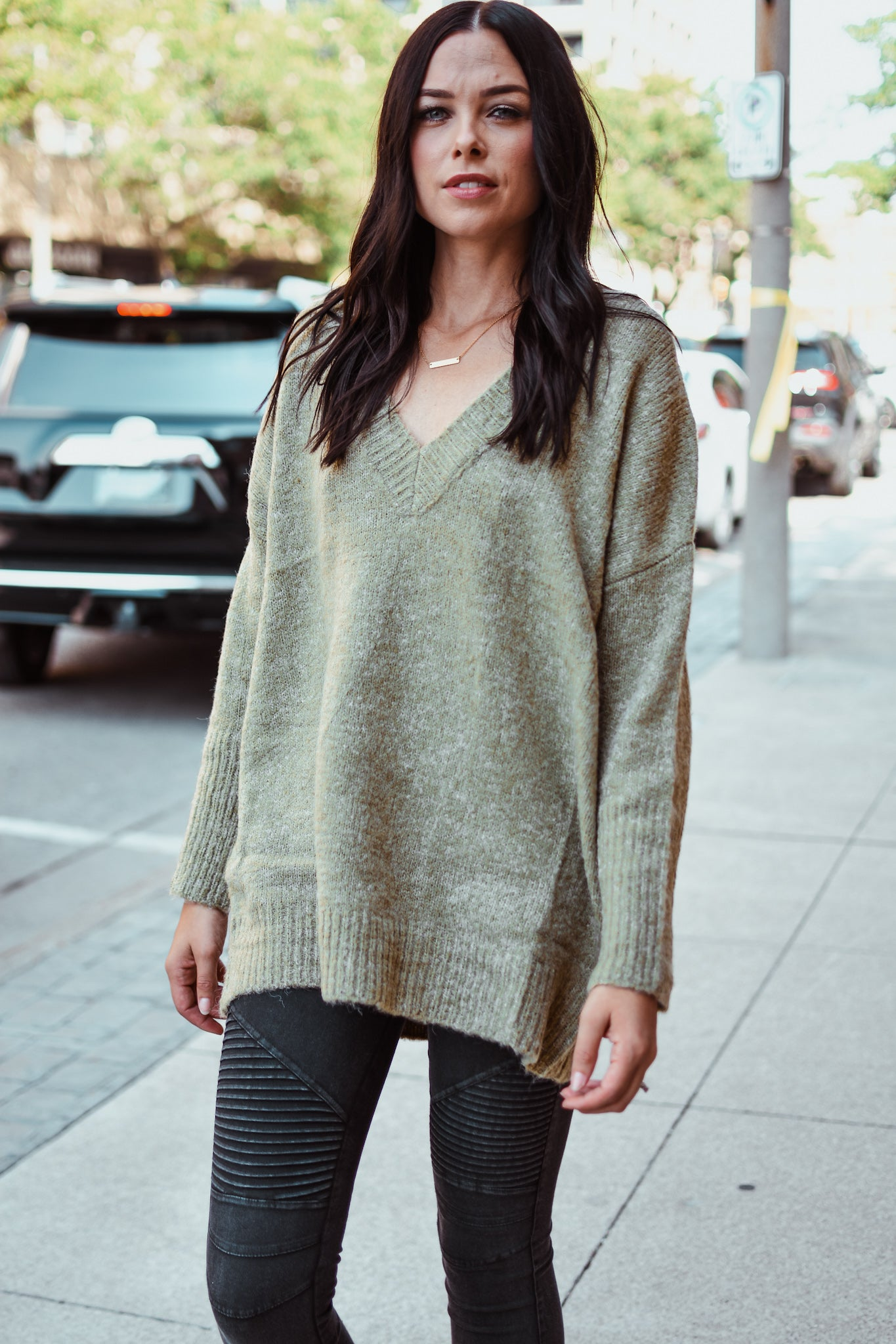 xSOLD OUTx Apple Picking Dolman Sleeve V-Neck Sweater in Olive