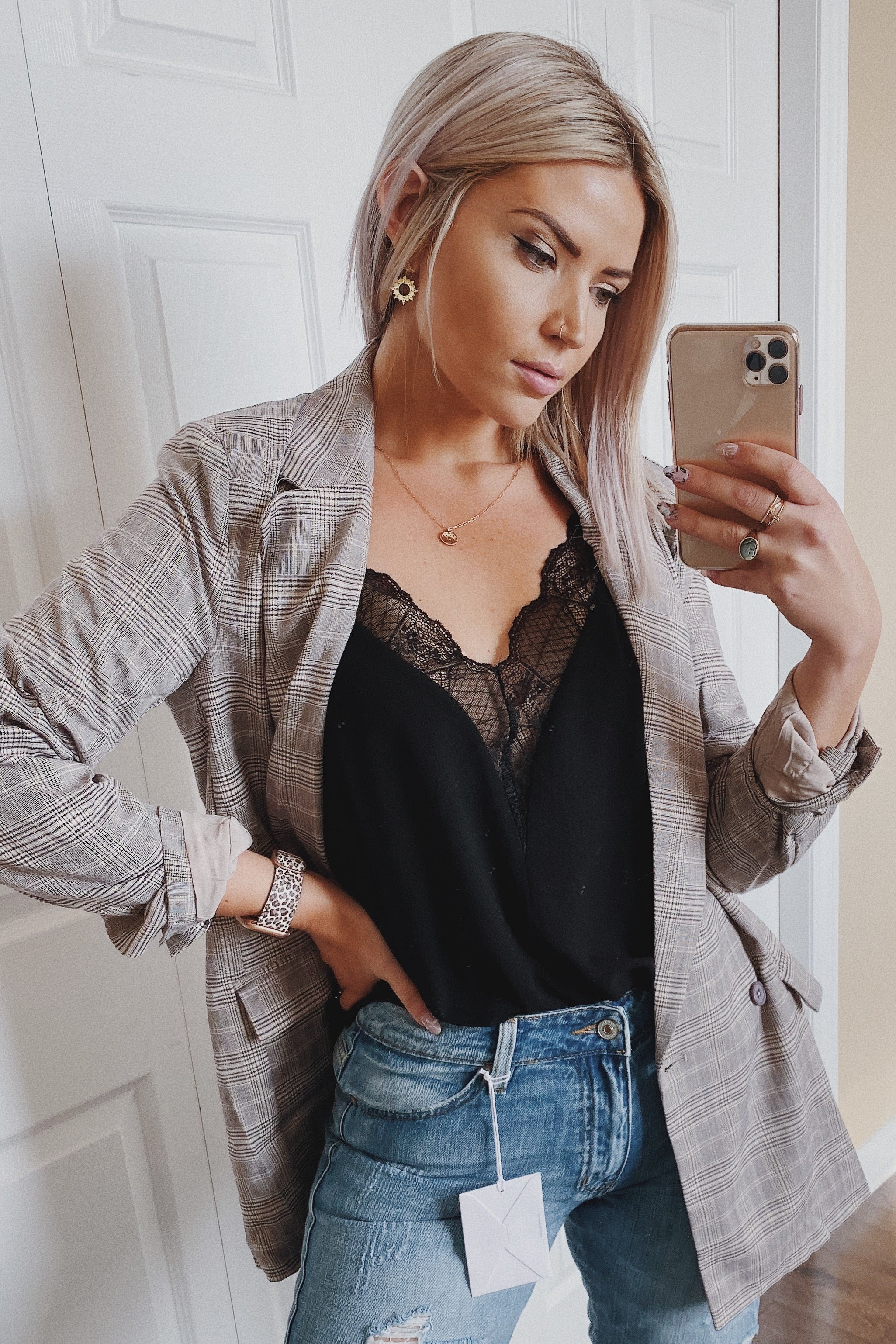 •sold out• Adulting is Hard Plaid Boyfriend Blazer