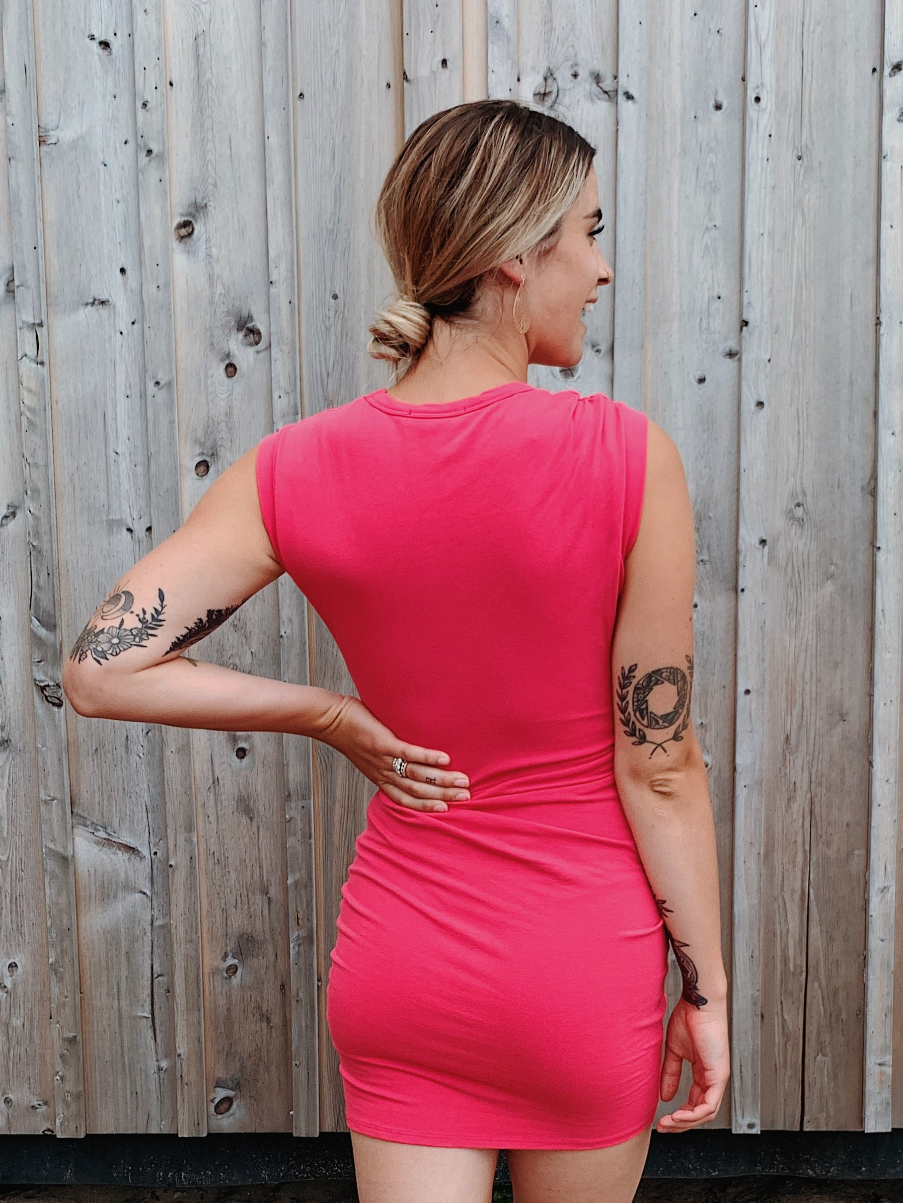 All Twisted Up Cut Out Mini Dress in Coral