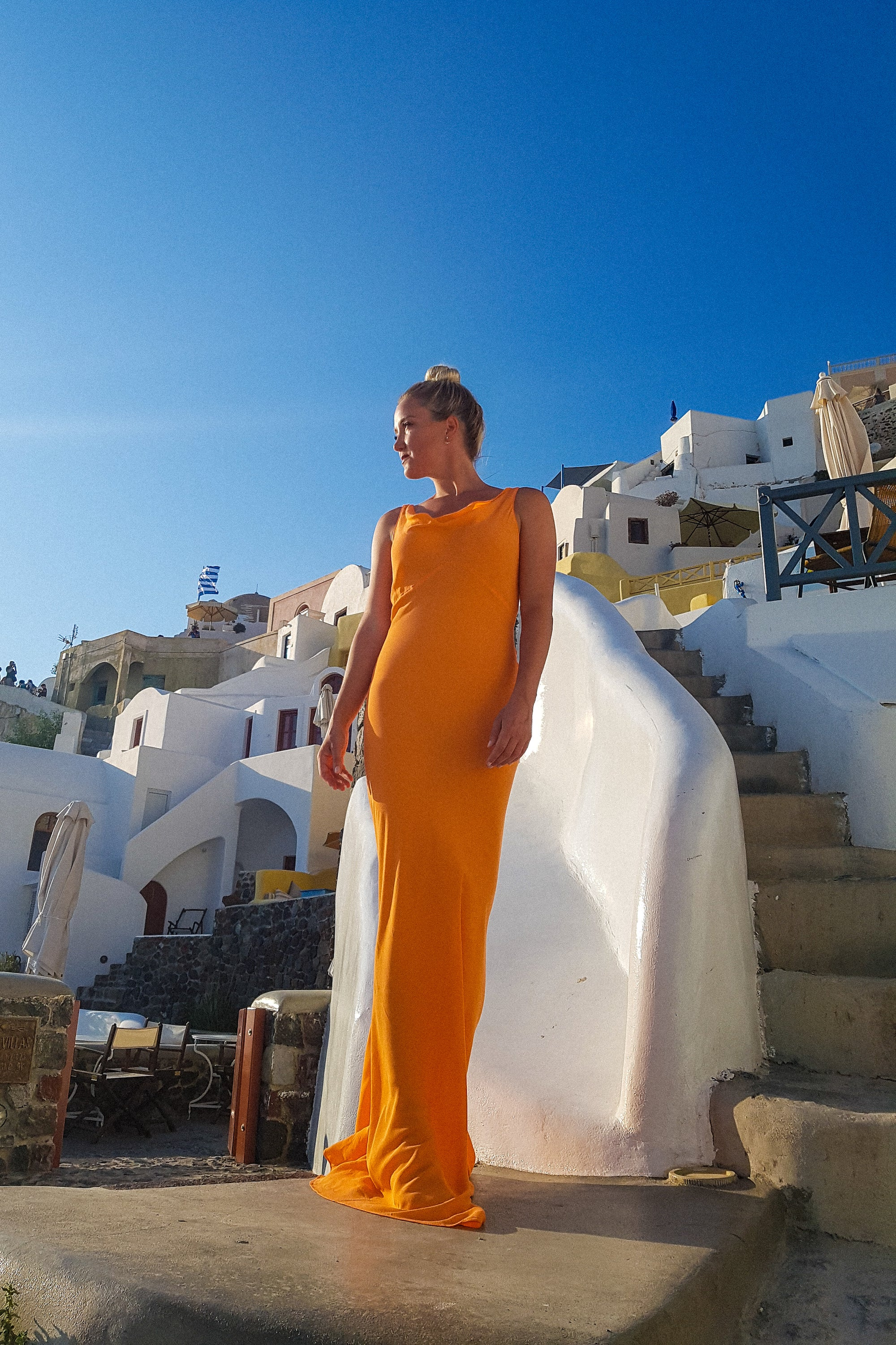 Santorini Cowl Maxi Dress in Cantalope Orange