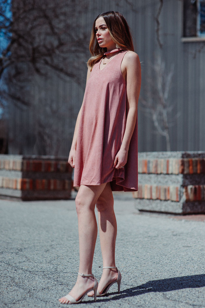 SOLD OUT / Fresh Breeze Faux Suede Dress in Rose