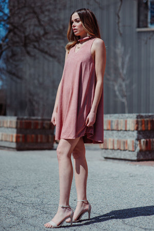 FLASH SALE / Fresh Breeze Faux Suede Dress in Rose