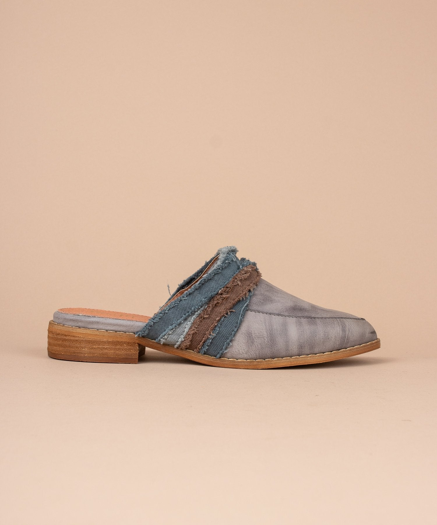 Tilli Fabric Wrapped Vintage Loafer in Grey / FINAL SALE