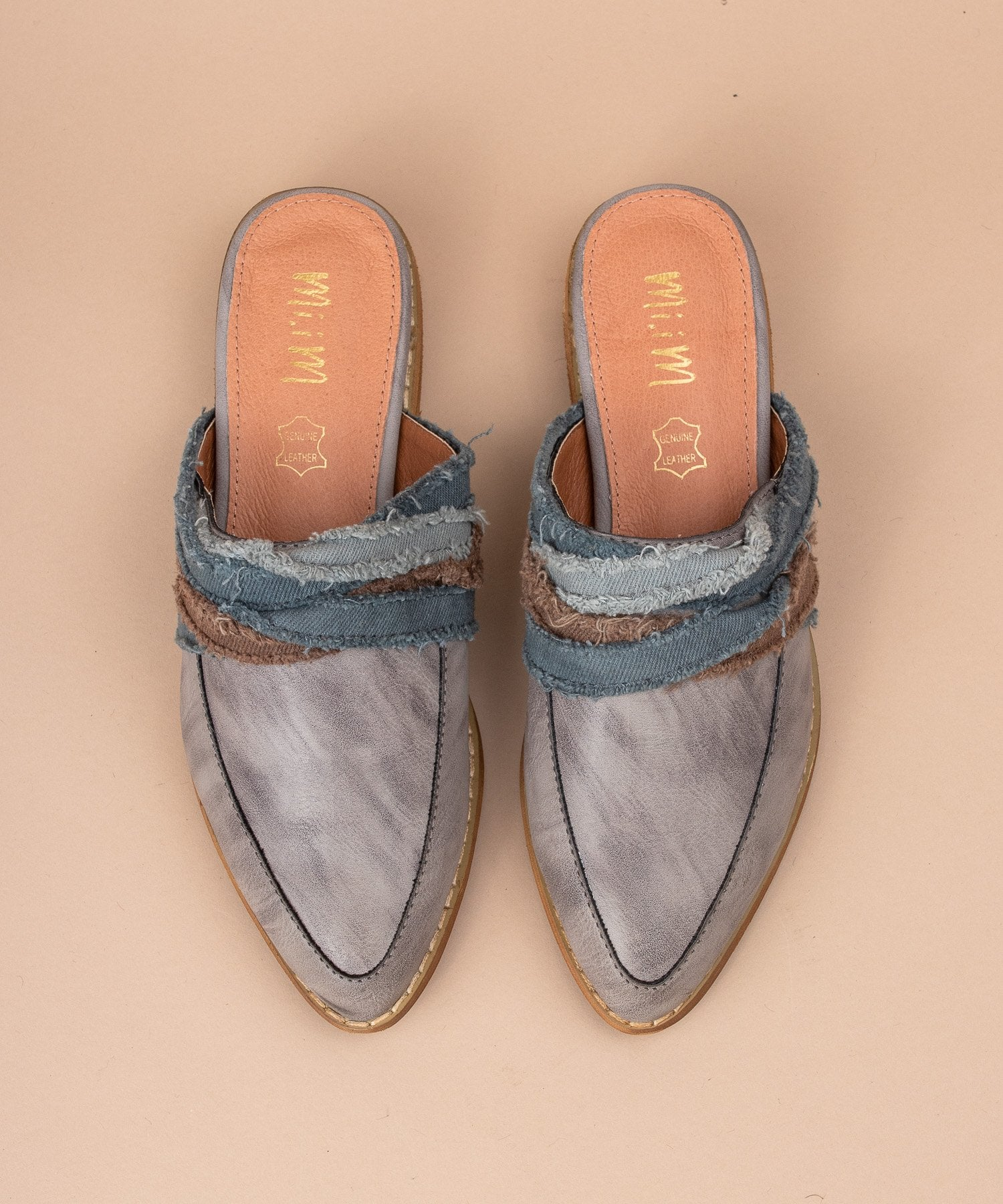 zSOLD OUTz Tilli Fabric Wrapped Vintage Loafer in Grey