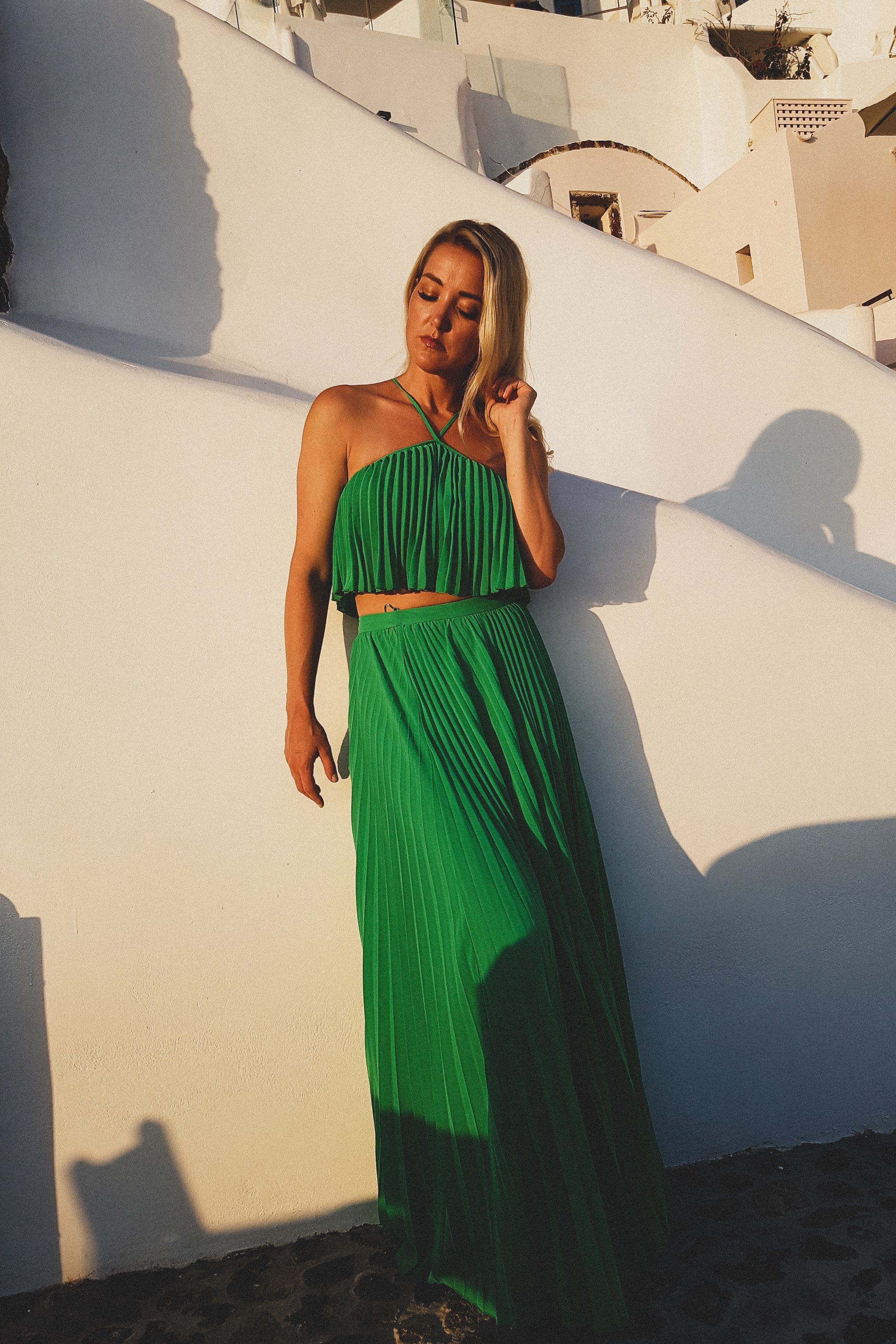 VIP Chiffon Pleated Maxi Skirt Set in Kelly Green