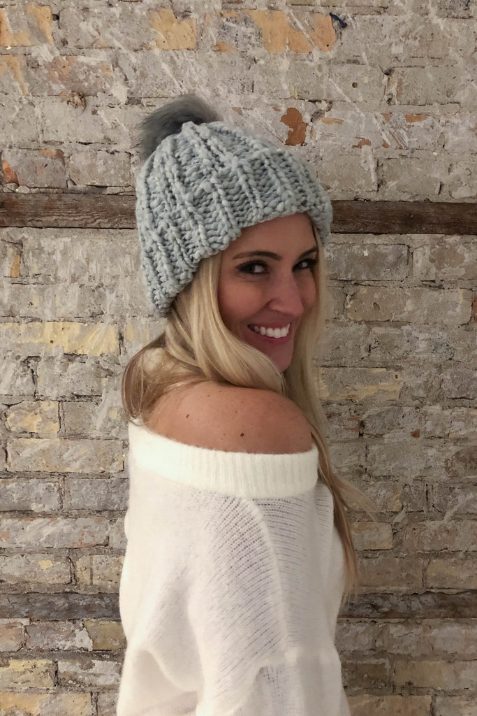 SOLD OUT   Swiss Alps Cable Knit Pom Pom Beanie Hat in Grey – Lace ... 155aee3dd017
